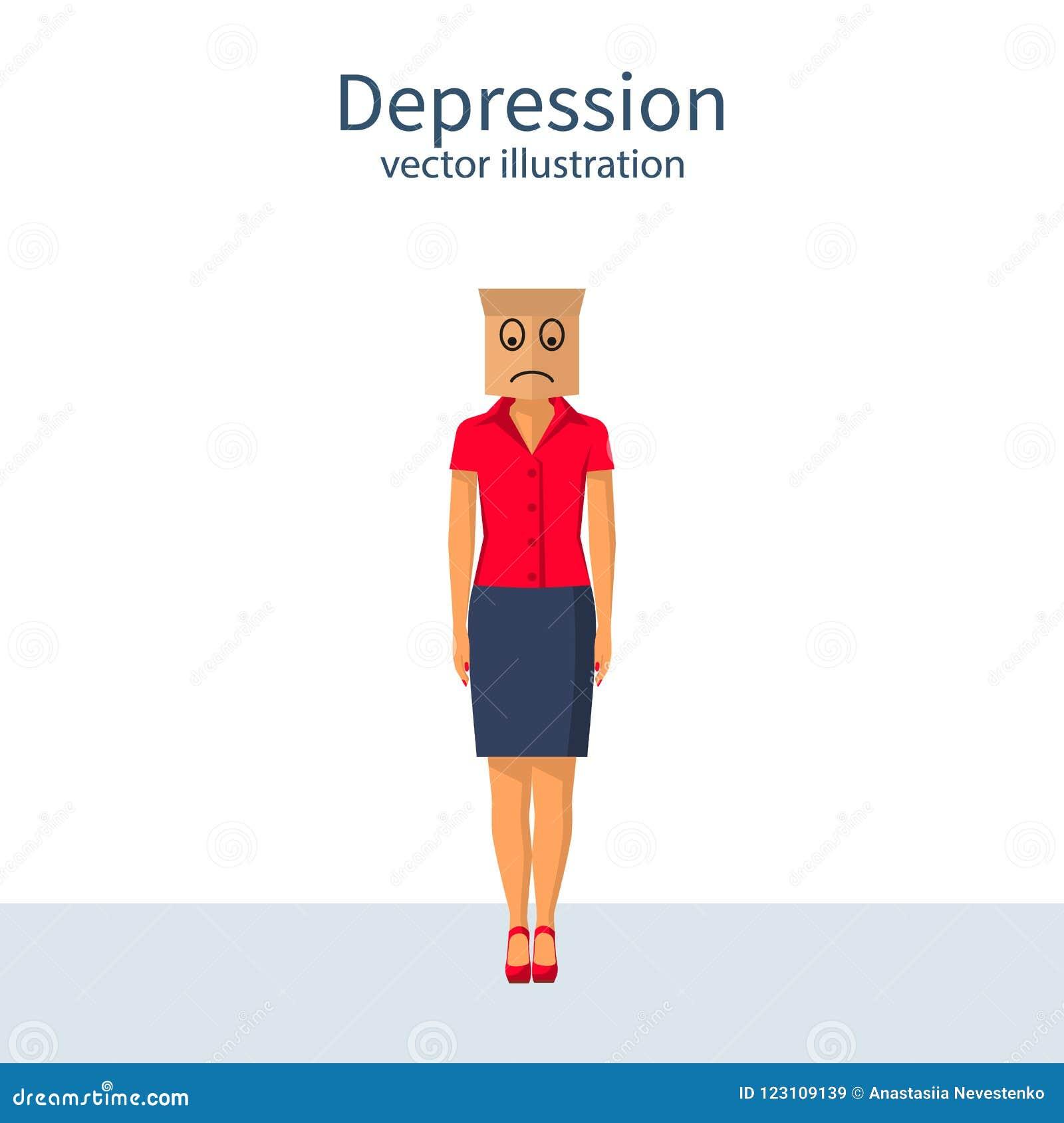 Concetto di Dipression con il sacco di carta sulla testa