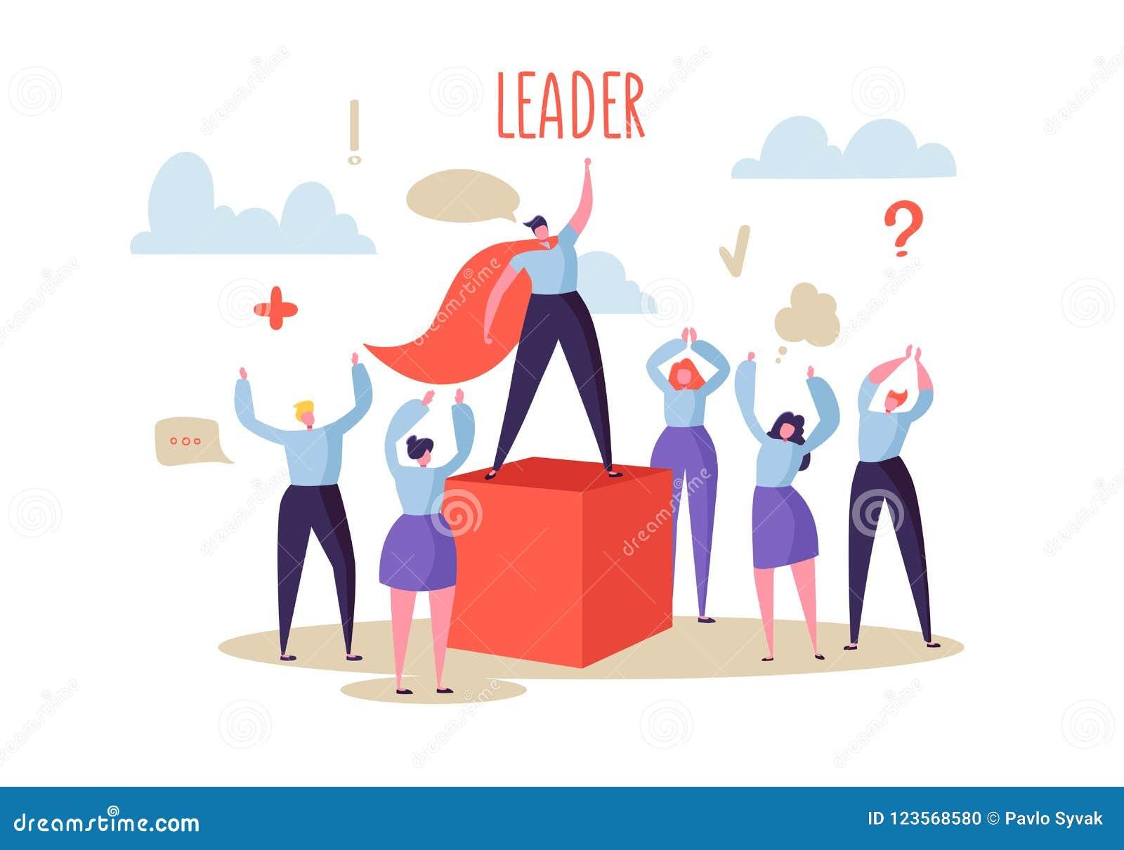 Concetto di direzione di affari Capo Leading Group del responsabile della gente piana dei caratteri al successo Motivazione di af