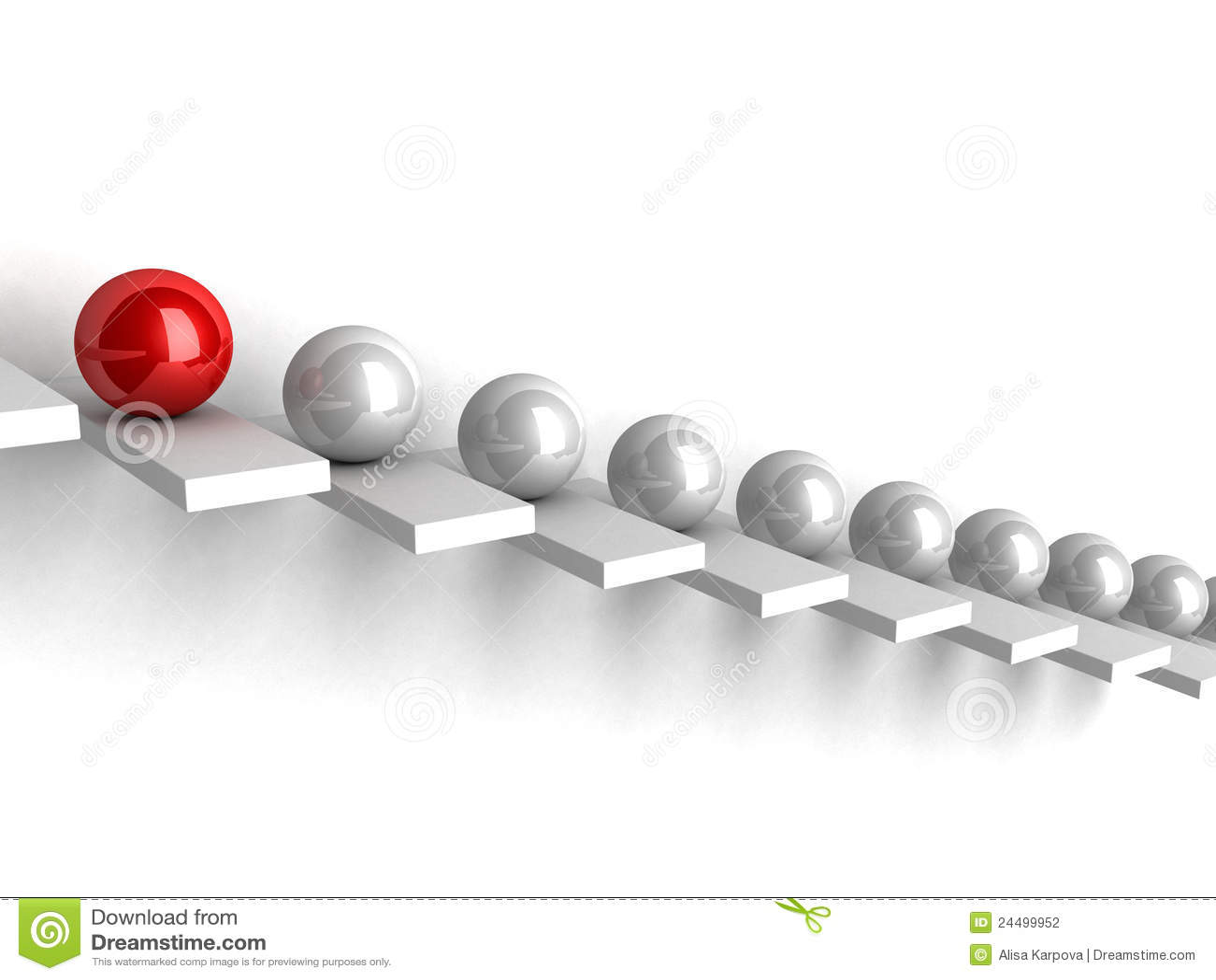 Concetto di direzione con le sfere sulla scaletta