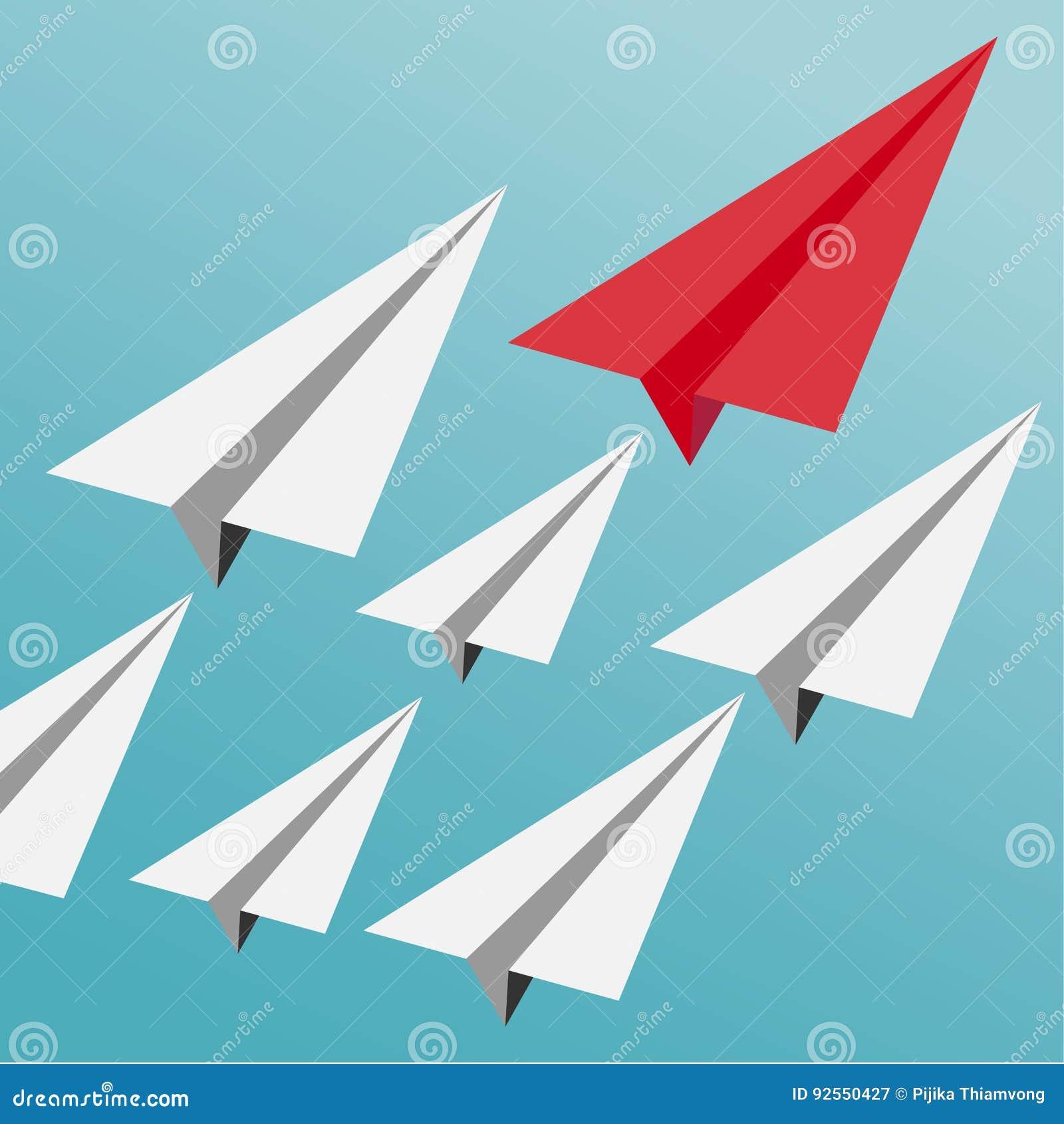 Concetto di direzione di affari con gli aeroplani bianchi conducenti piani di carta rossi