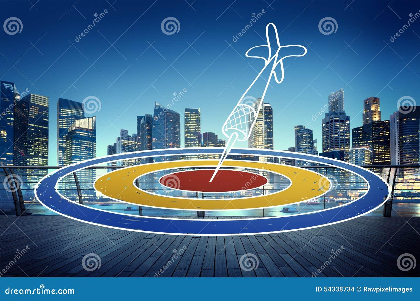 Concetto di Dot Objective Achievement Dartboard Goal di scopo dell obiettivo