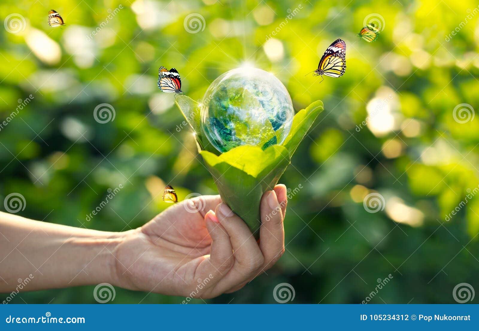 Concetto di energia di risparmio, giorno di terra