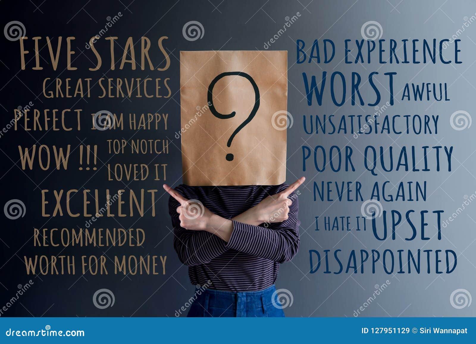 Concetto di esperienza del cliente Donna del cliente con la domanda Mark Ico