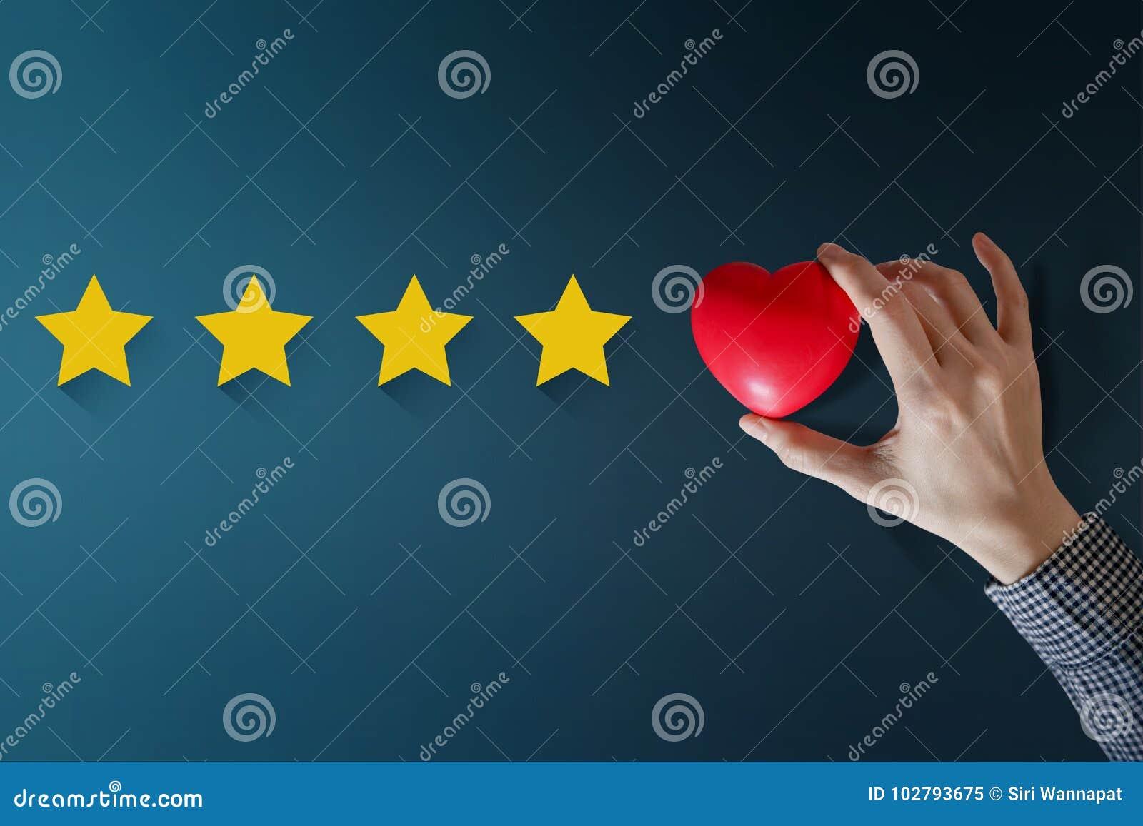 Concetto di esperienza del cliente, migliori servizi eccellenti che valutano per