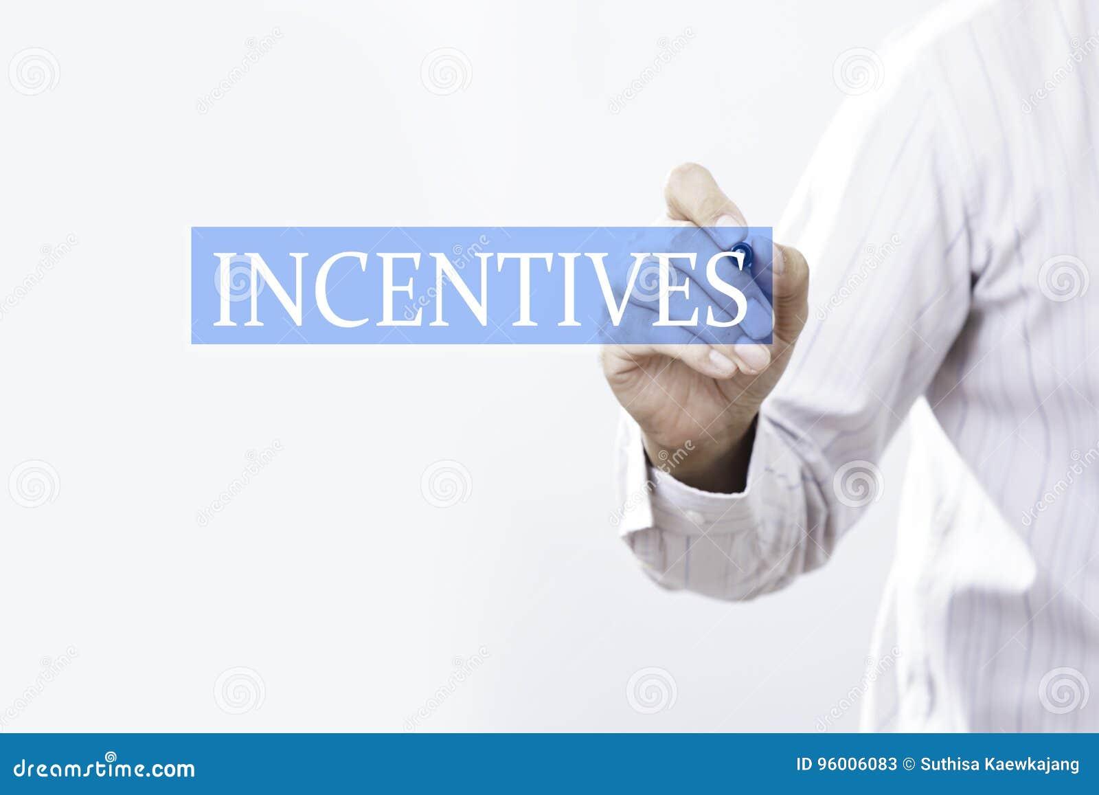 Concetto di incentivi di tiraggio dell uomo d affari