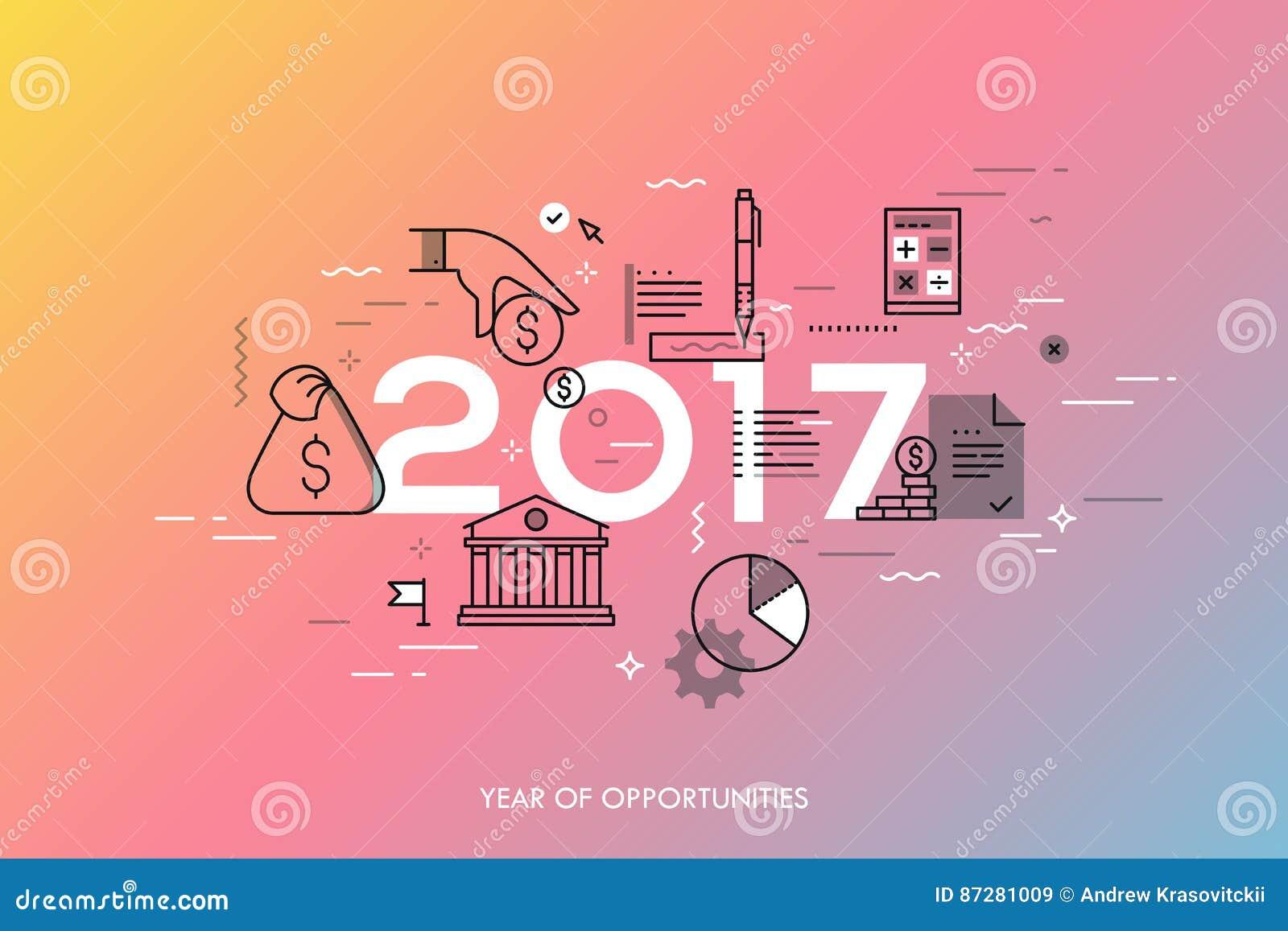 Concetto di Infographic, 2017 - anno di opportunità Nuove tendenze relative e previsioni calde all economia, pianificazione del b