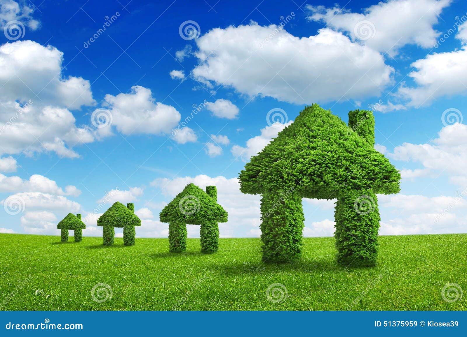 Concetto di integrazione della casa di verde della natura for Piani di casa rispettosi dell ambiente