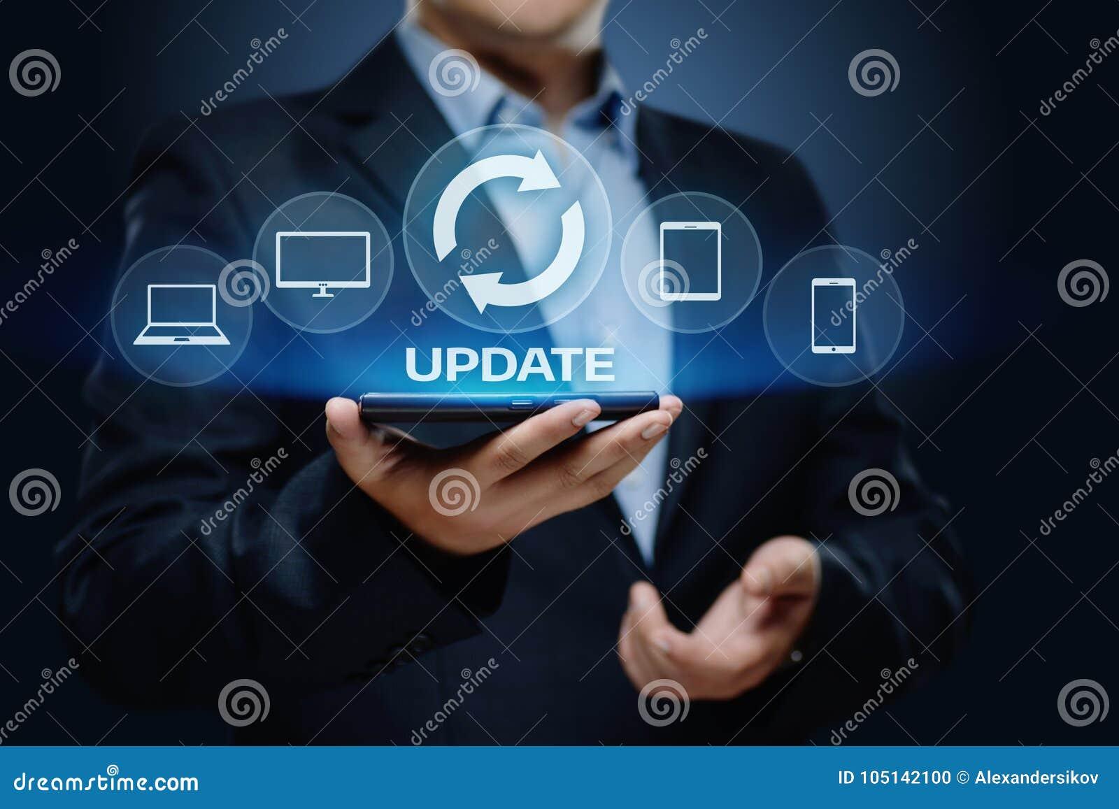 Concetto di Internet di tecnologia di affari di aggiornamento di programma del software dell aggiornamento