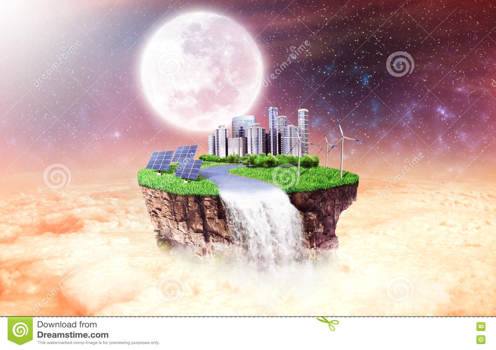Concetto Di Libertà Isola In Cielo Con La Città Futura