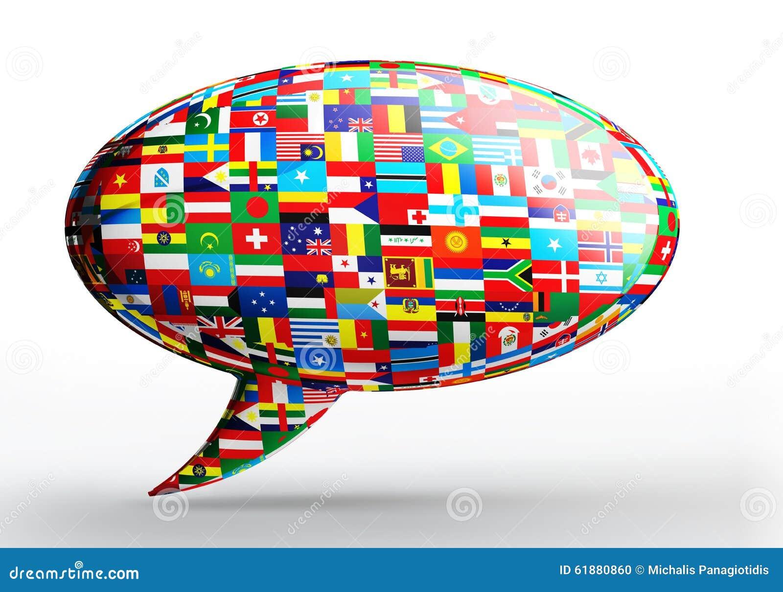 Concetto di lingua della bolla di conversazione con le bandiere di nazione
