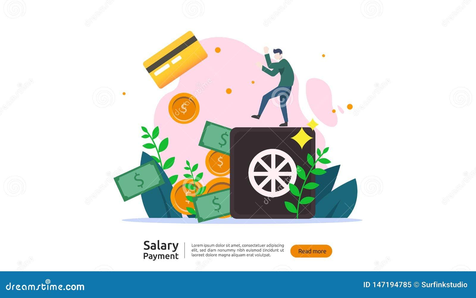 Concetto di pagamento di stipendio Libro paga, indennit? annuale, reddito, versamento con il calcolatore della carta e carattere