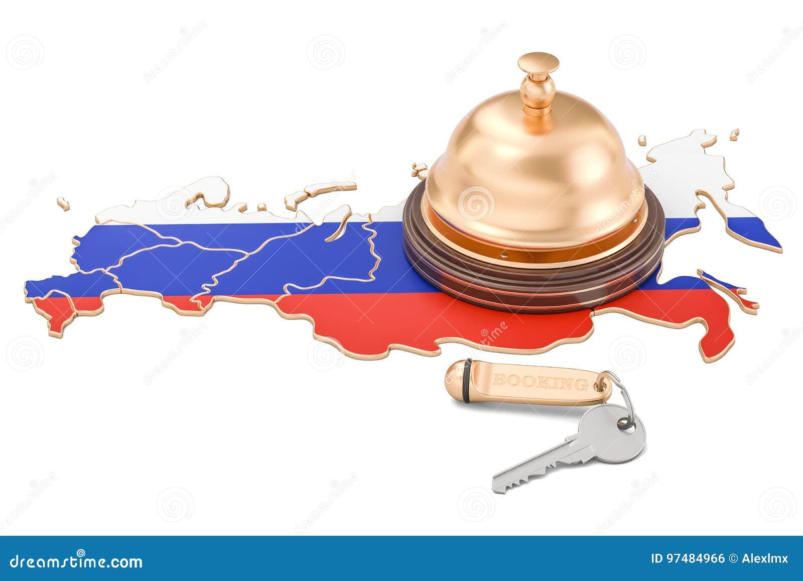 Concetto di prenotazione della Russia Bandiera russa con la chiave e la ricezione dell hotel
