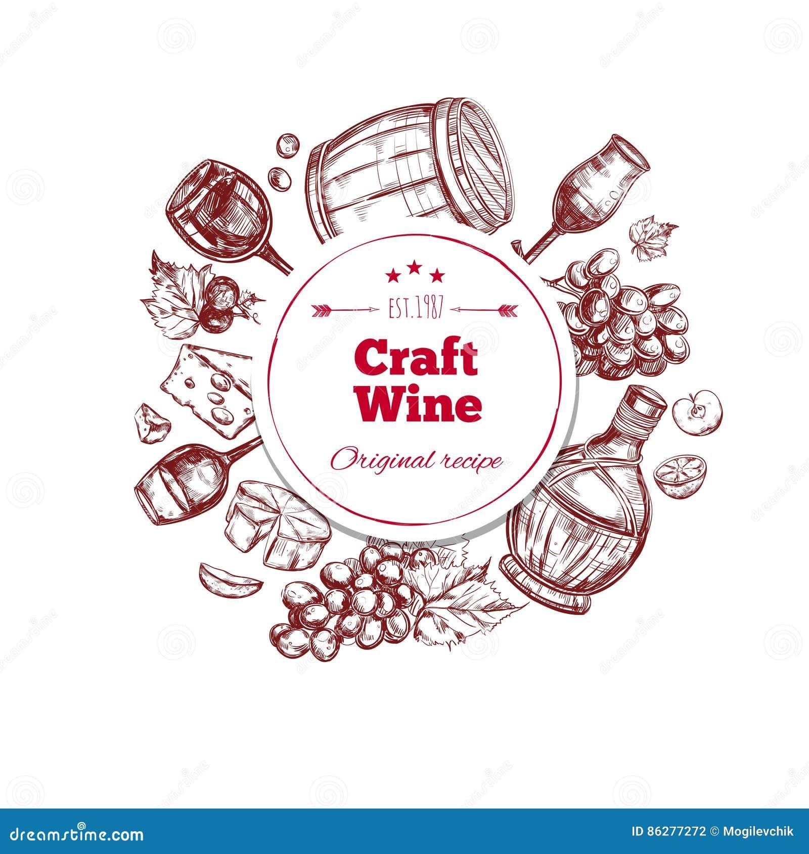 Produzione Artigianale Del Vetro.Concetto Di Produzione Artigianale Del Vino Rosso Illustrazione