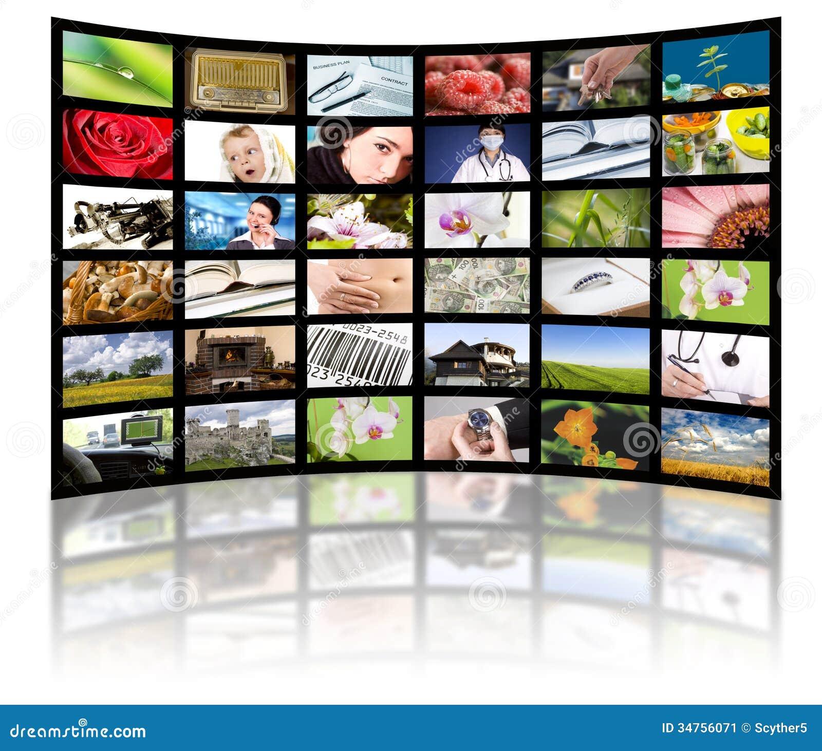 Concetto di produzione della televisione. Pannelli di film della TV