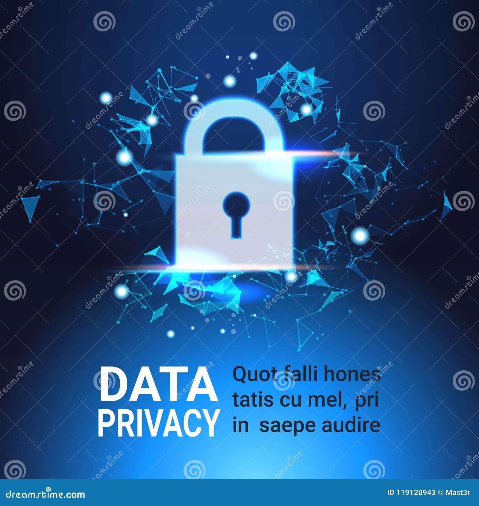 Concetto di segretezza di protezione dei dati del lucchetto GDPR Fondo cyber della rete di sicurezza protezione dell informazione