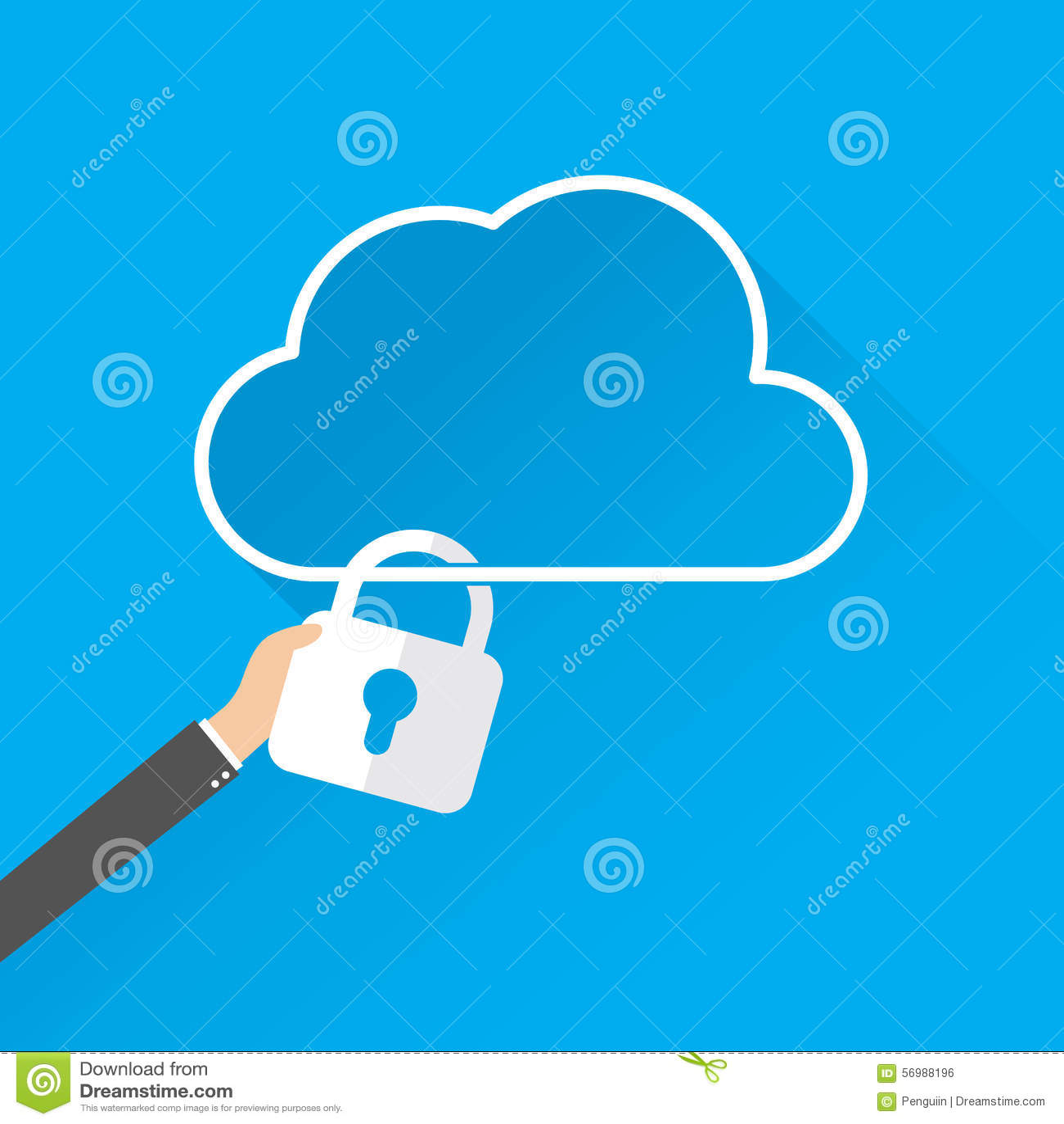Concetto di servizi di sicurezza di dati della nuvola icona della nuvola con il lucchetto Vector2