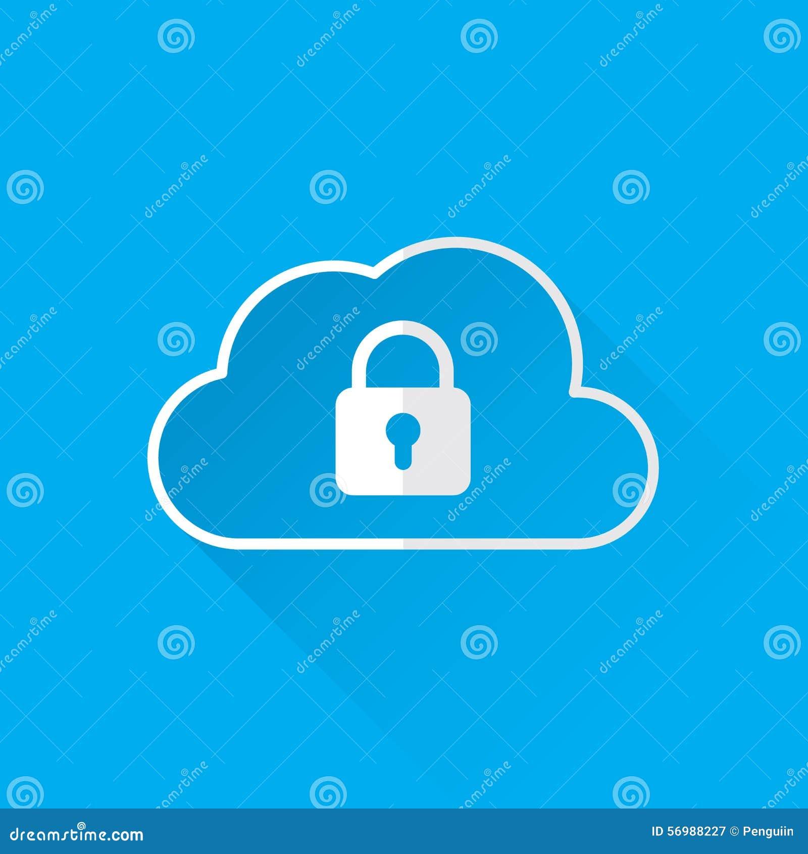 Concetto di servizi di sicurezza di dati della nuvola icona della nuvola con il lucchetto Vettore
