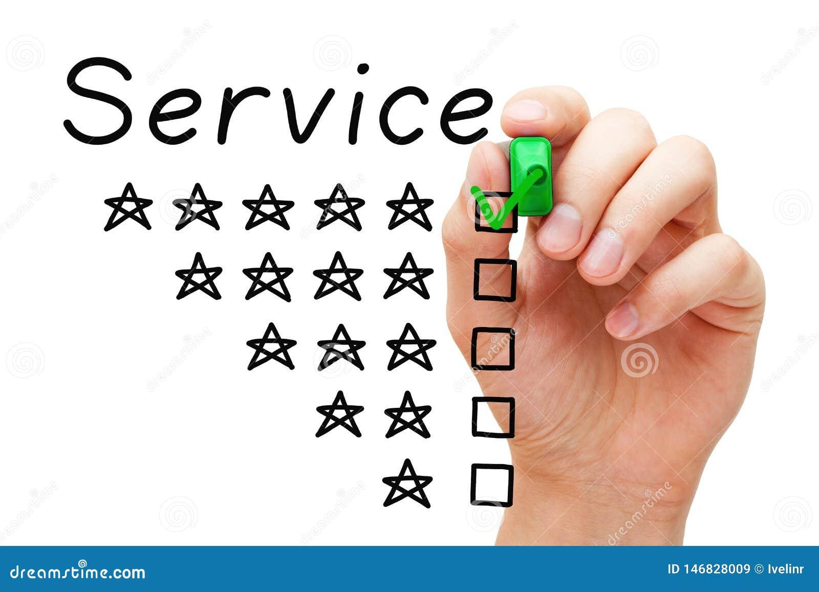 Concetto di servizio della stella di soddisfazione del cliente cinque