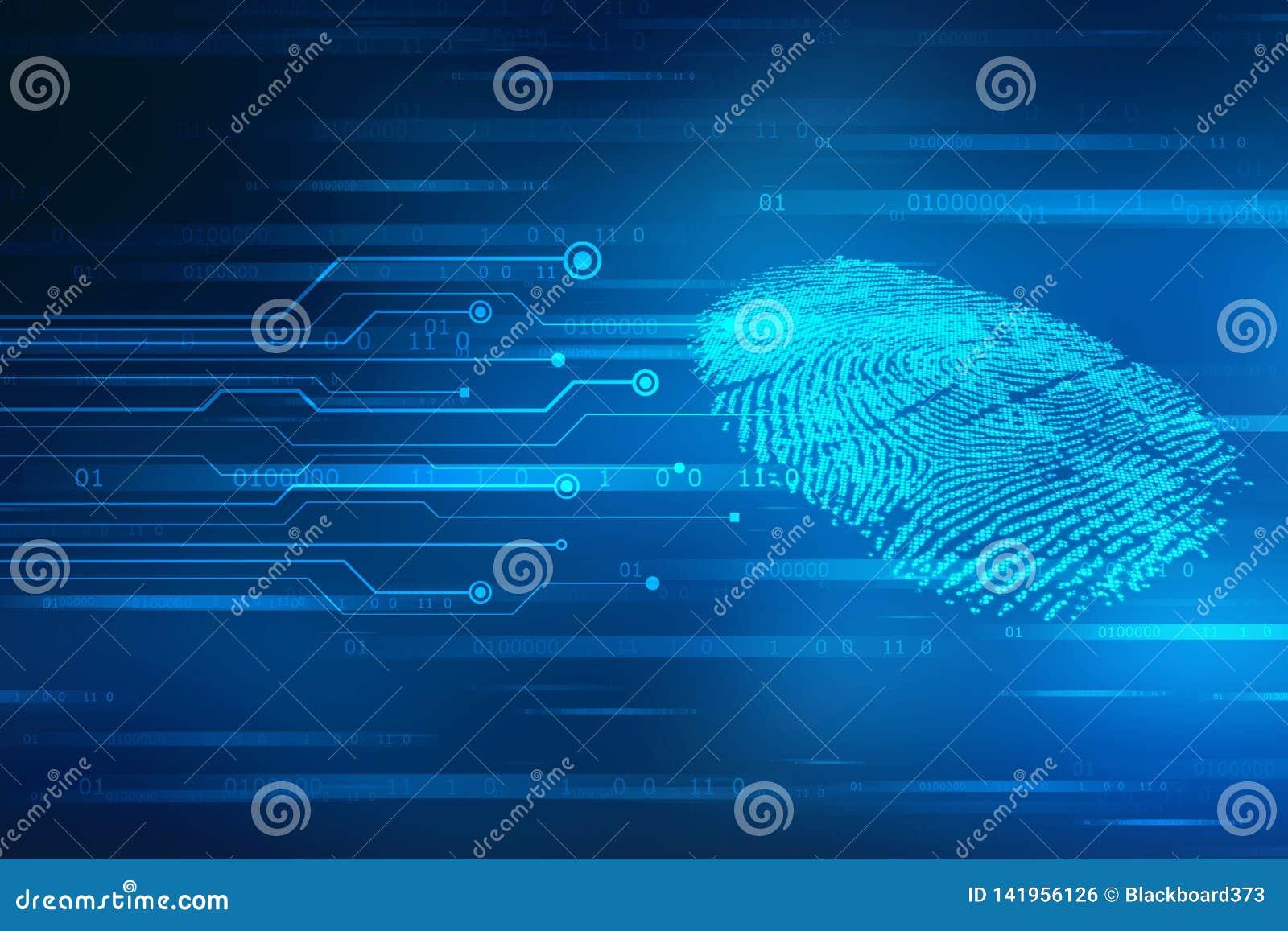 Concetto di sicurezza: esame dell impronta digitale sullo schermo digitale 2d illustrazione
