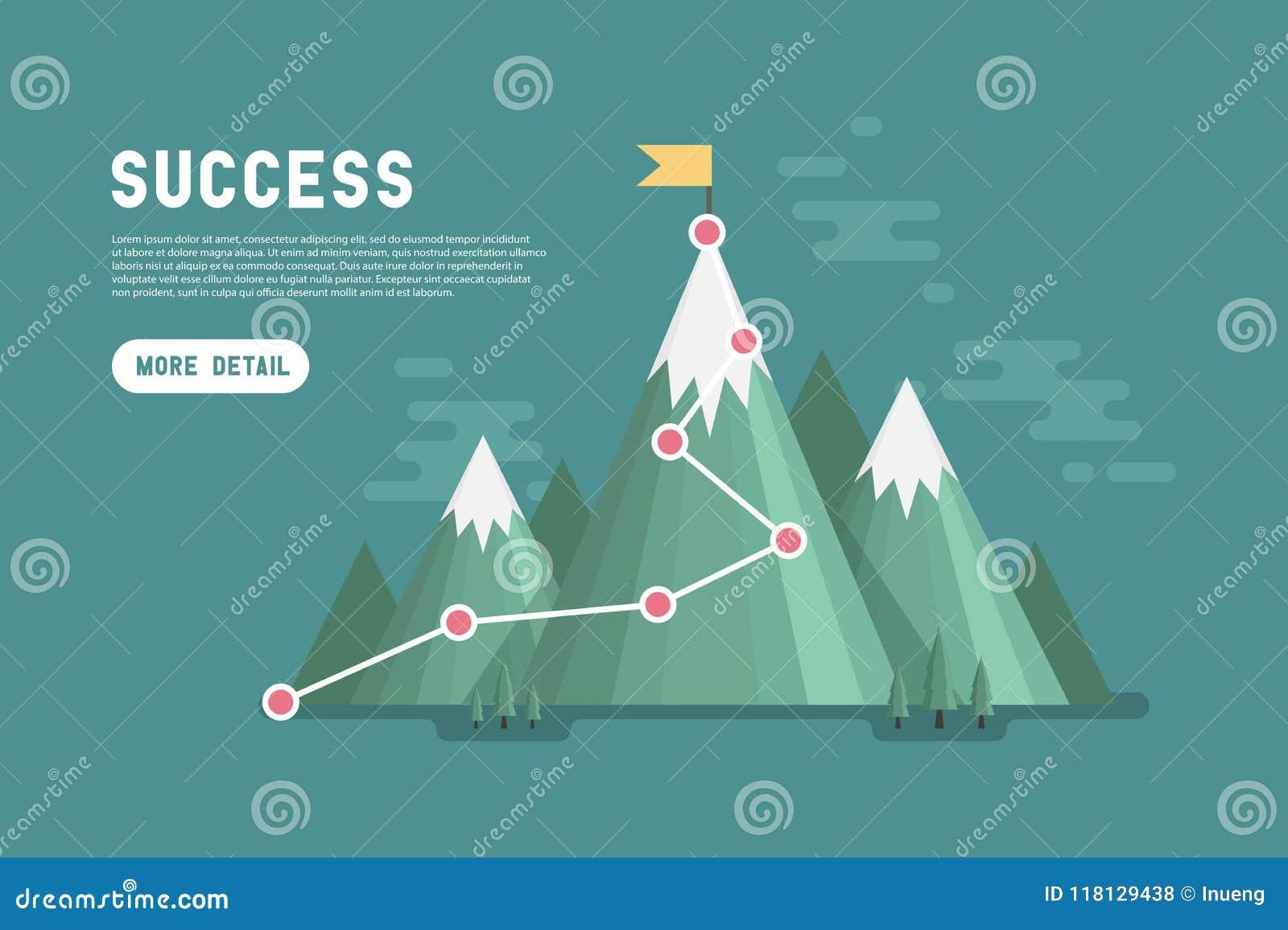 Concetto di successo di scopo di affari infographic Bandiera sulla cima della montagna
