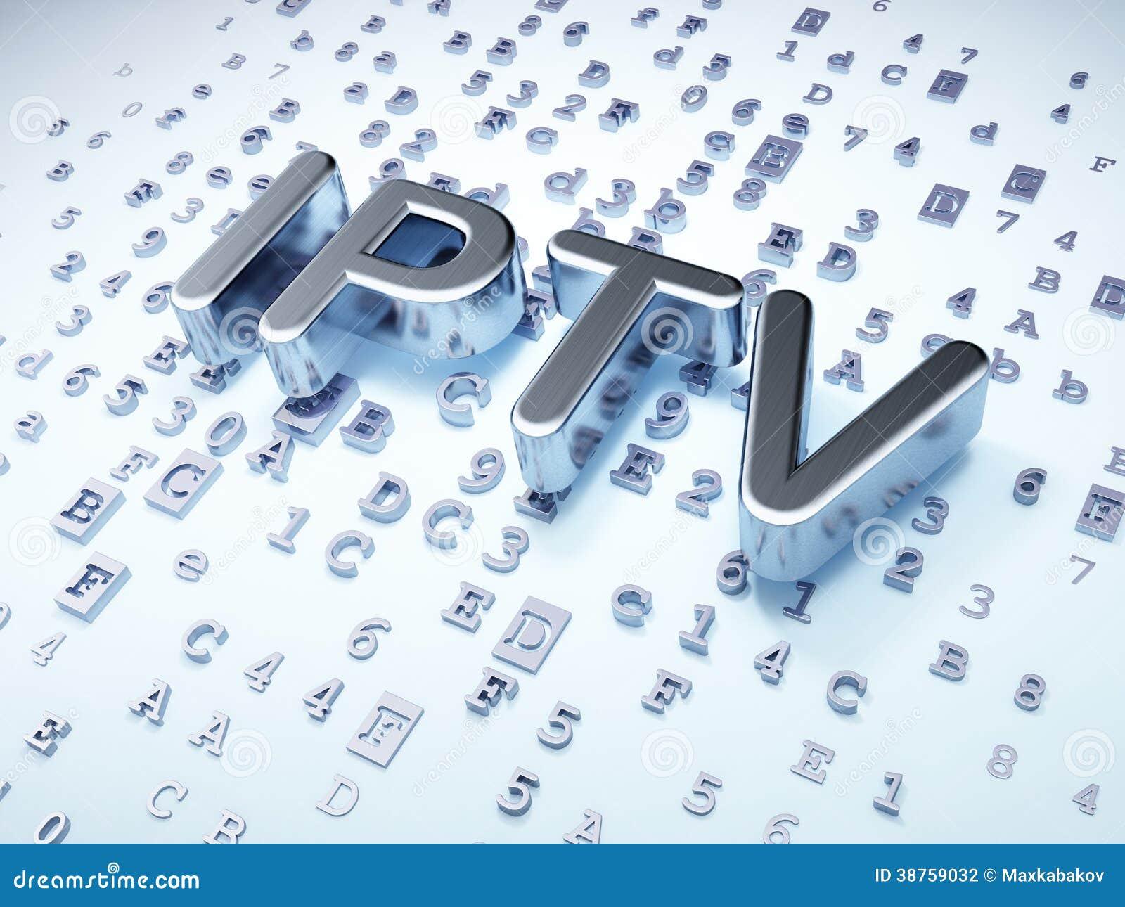 Concetto di sviluppo di web di SEO: Argento IPTV su fondo digitale