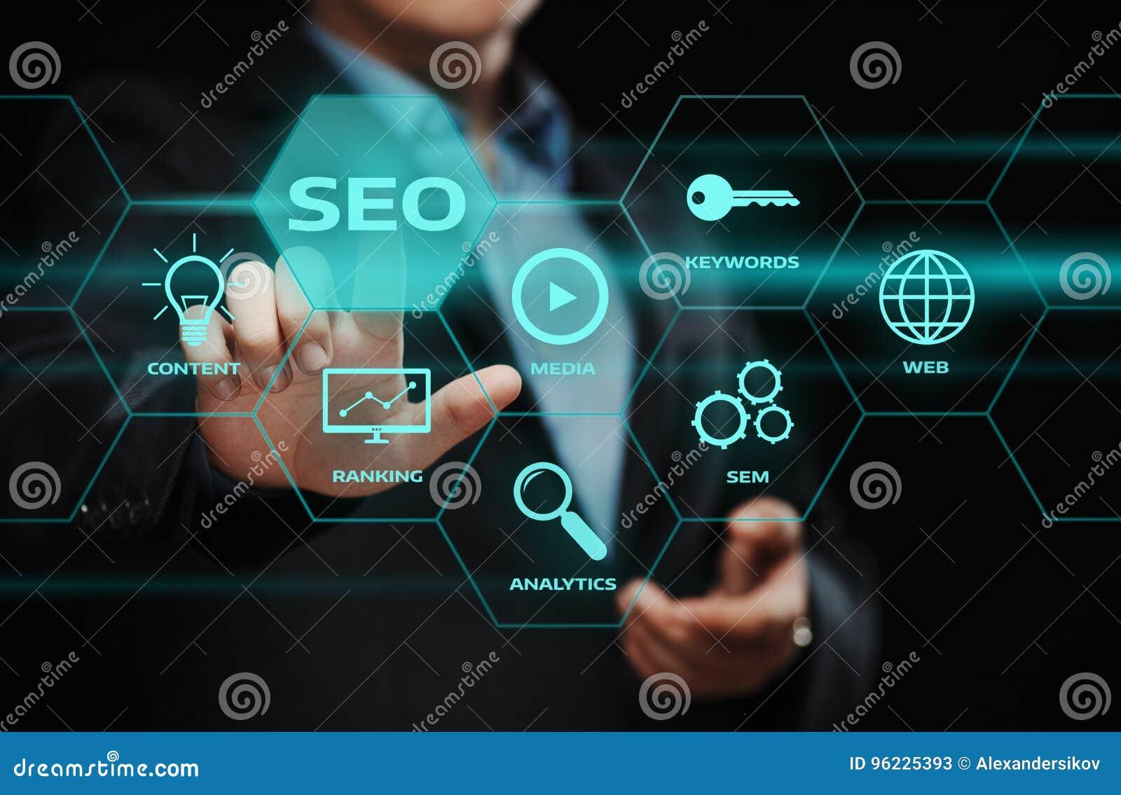 Concetto di tecnologia di affari di Internet del sito Web di traffico del posto di SEO SEM Search Engine Optimization Marketing