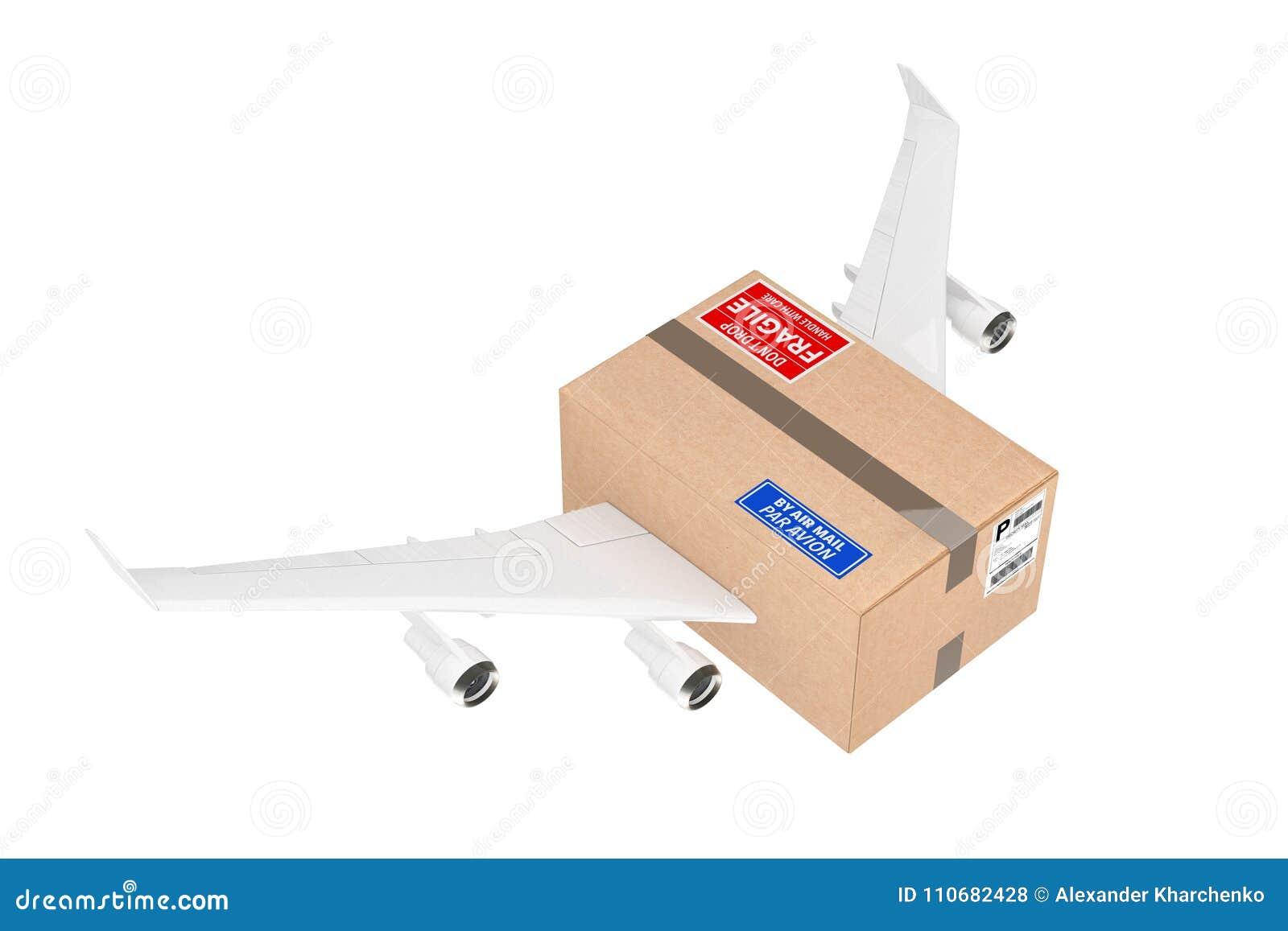 Concetto di trasporto di posta aerea Pacchetto della scatola di cartone con Jet Engines