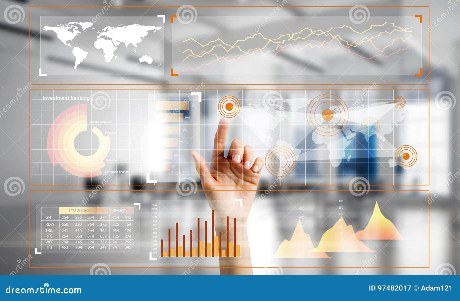Concetto di usando le tecnologie moderne per la globalizzazione e la rete di affari