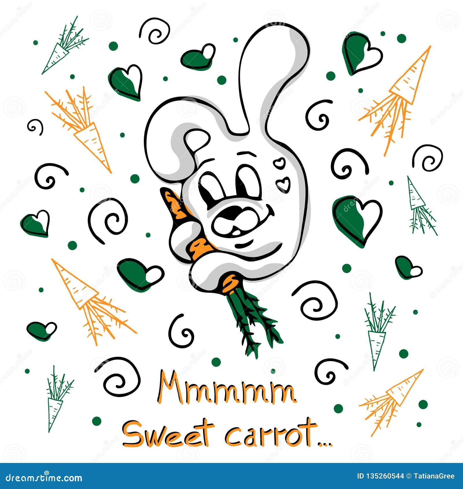 Concetto di vettore con il coniglietto, le carote, i riccioli ed i cuori svegli