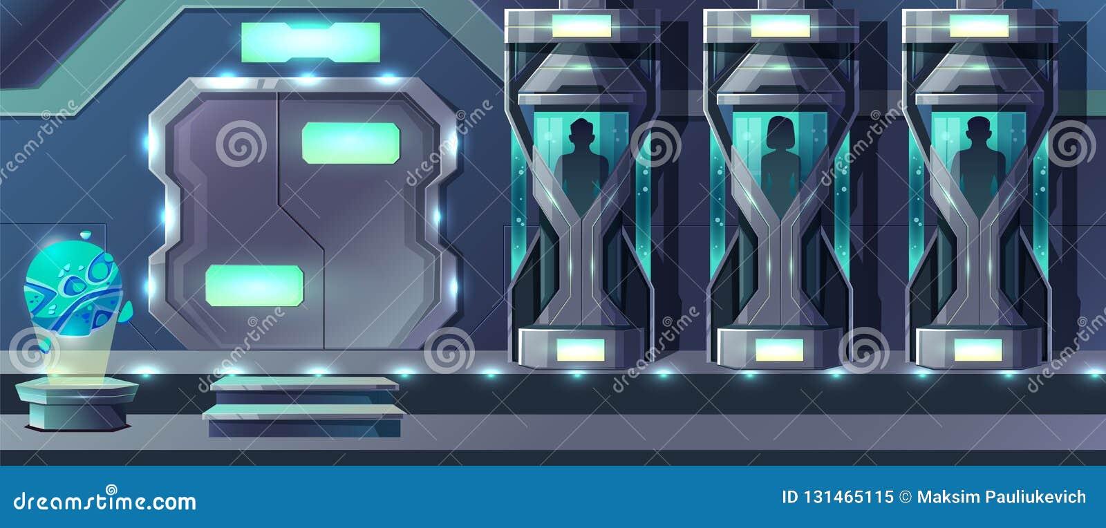 Concetto di vettore del fumetto del laboratorio della clonazione umana