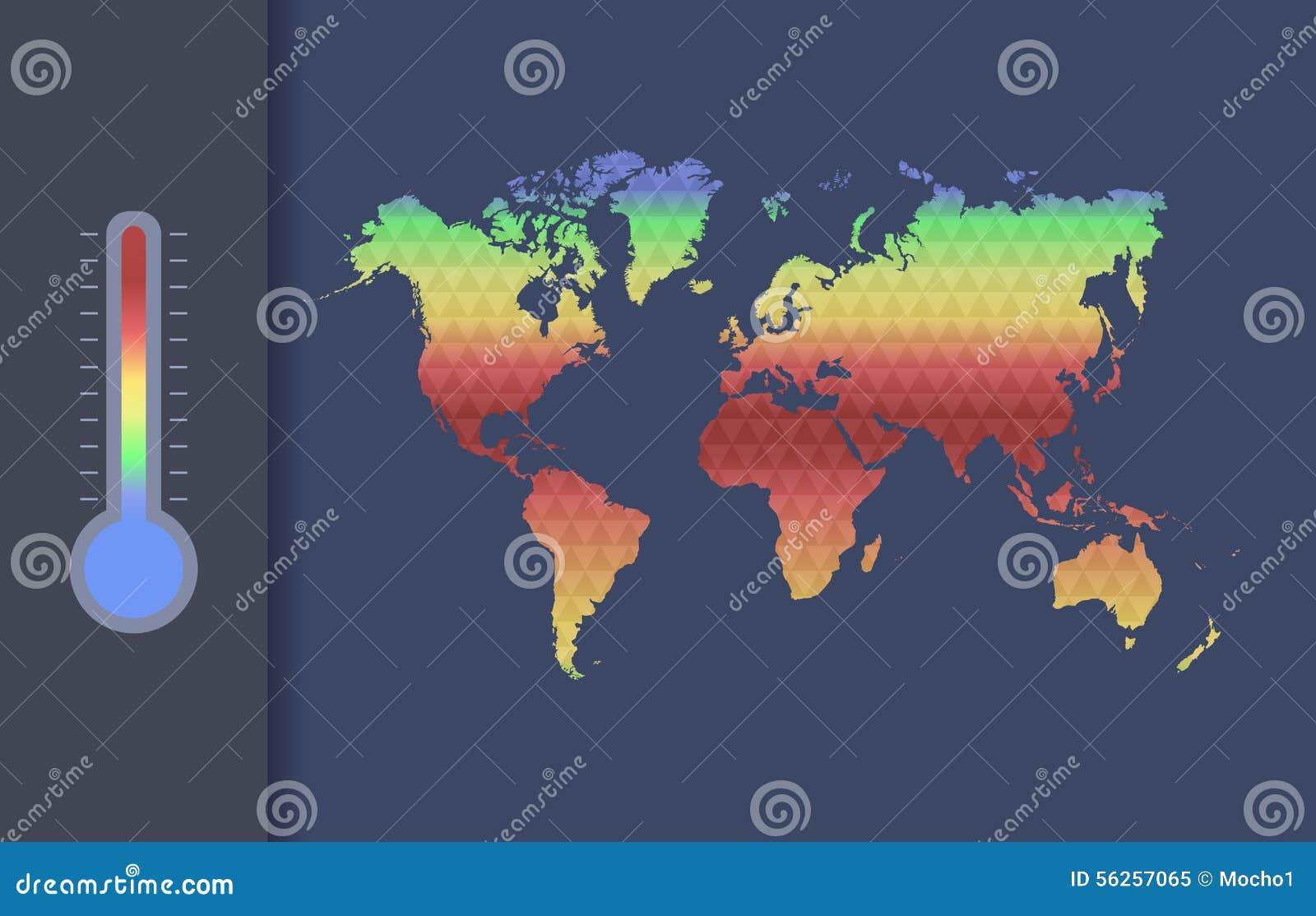 Concetto di vettore di riscaldamento globale Mappa globale di clima del mondo