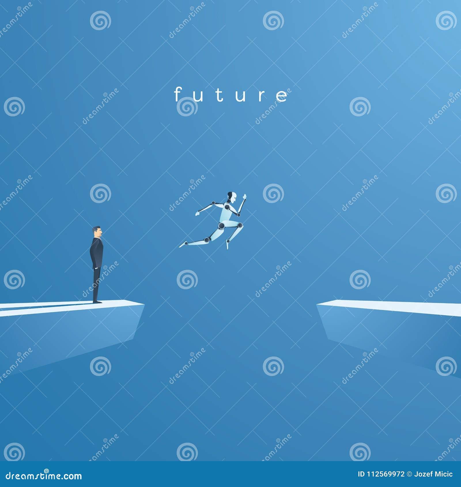 Concetto di vettore di intelligenza artificiale o di Ai con il salto del robot di ai, saltellante nel futuro Simbolo di avanzamen