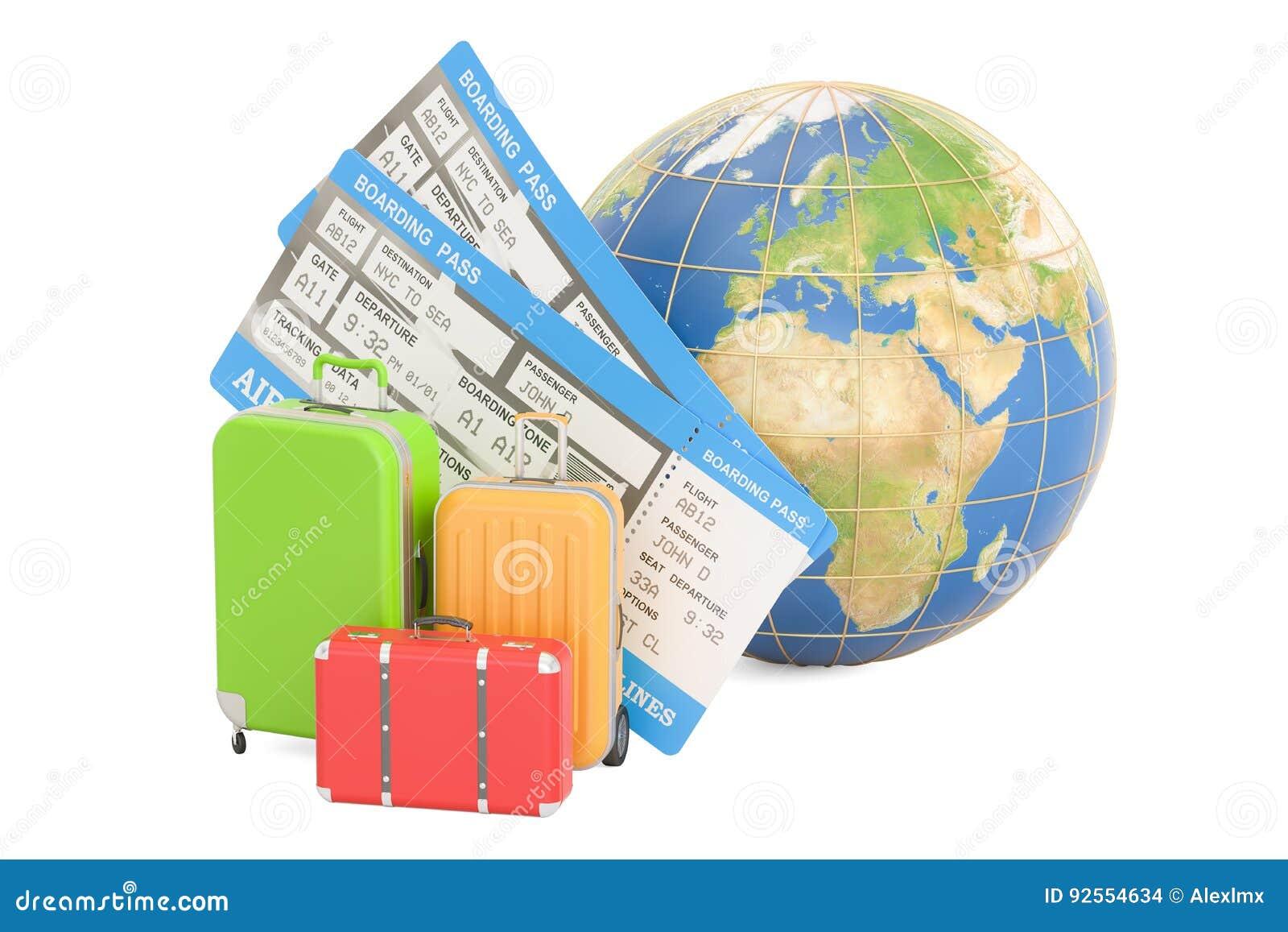 Concetto di viaggio, globo della terra con le valigie e biglietti rende 3D