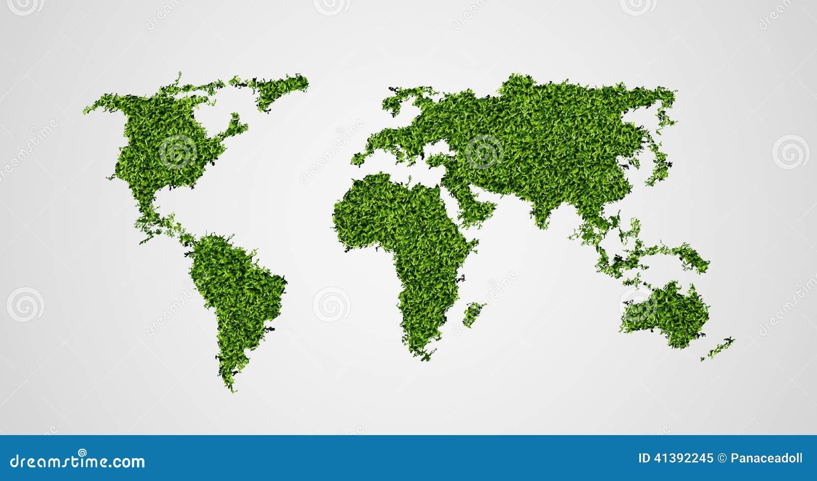 Concetto ecologico della mappa di mondo verde for Il verde mondo