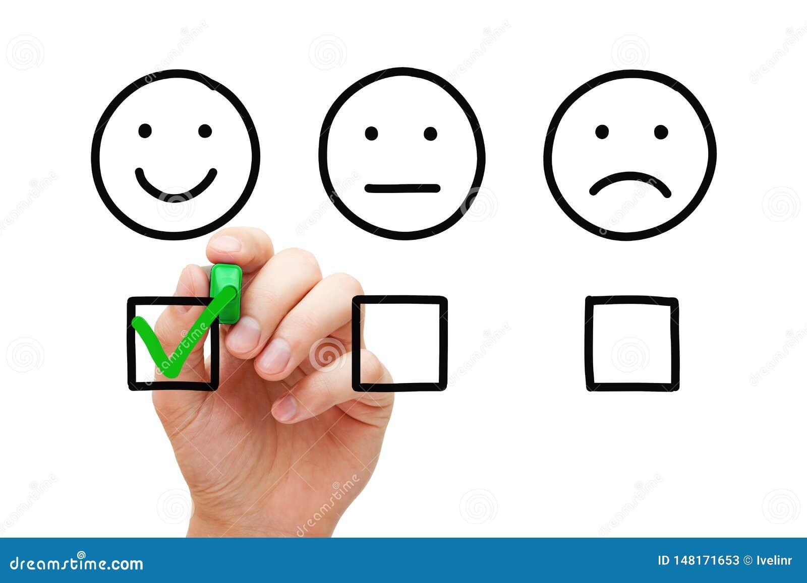 Concetto felice di indagine di feedback dei clienti