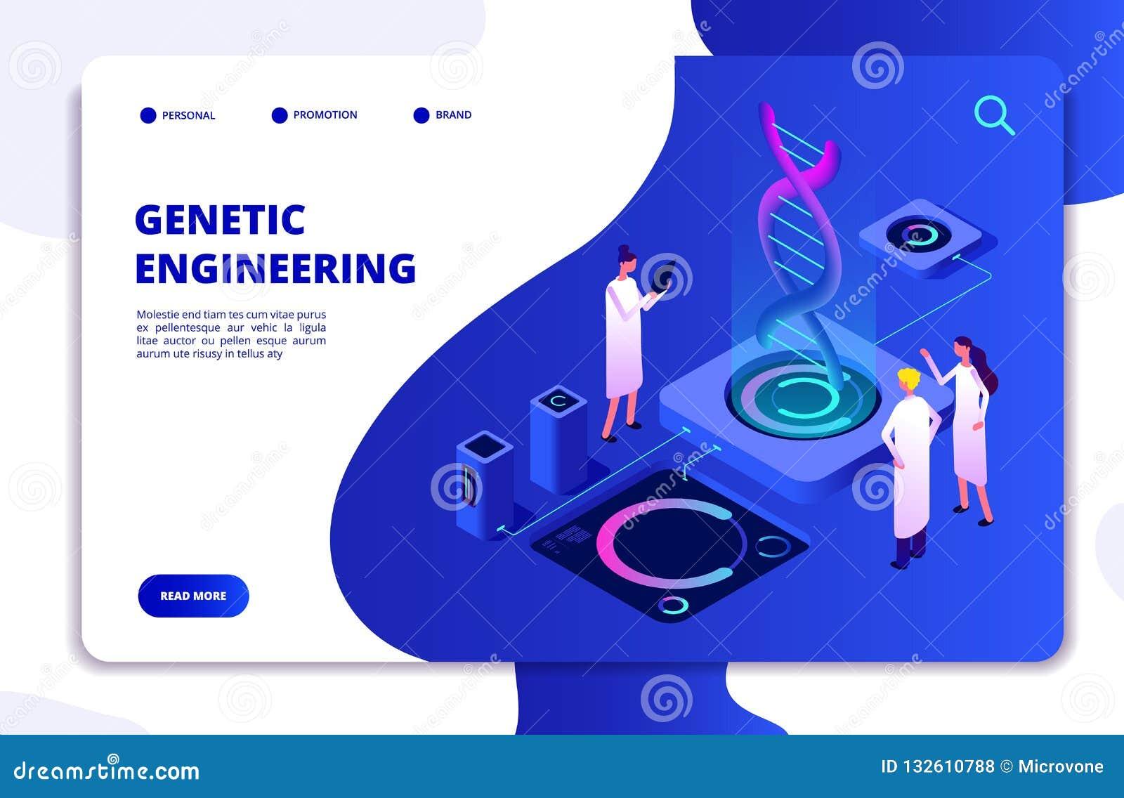 Concetto genetico Biochimica di nanotecnologia del DNA e ingegneria del DNA del genoma umano Atterraggio di vettore di biologia m