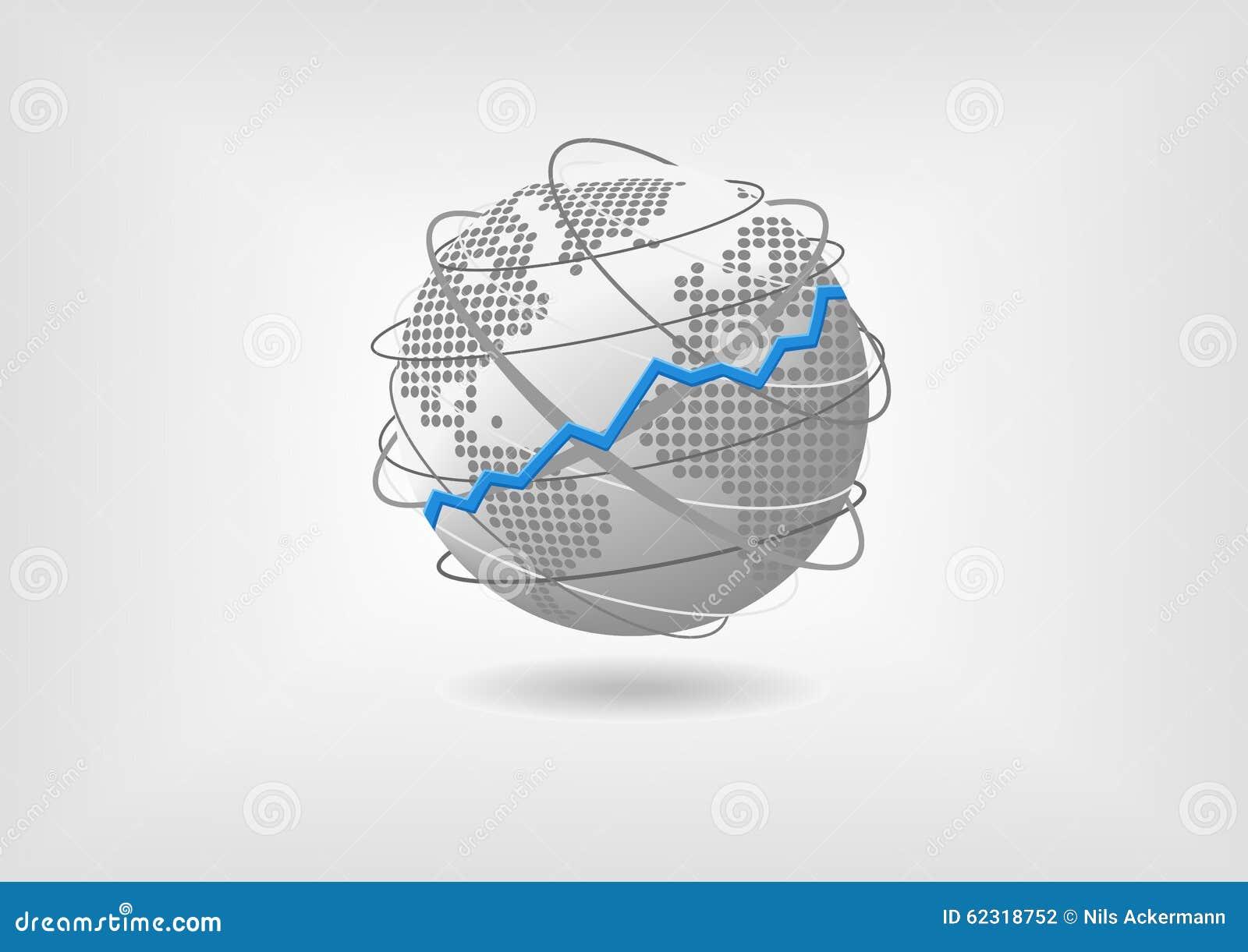 Concetto globale dello sviluppo economico a titolo dimostrativo Economia mondiale di prosperità fiduciosa rappresentata dal globo