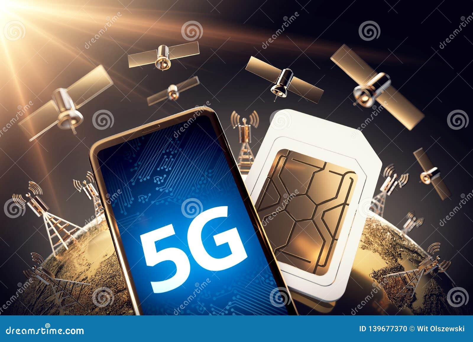Concetto globale di connettività con la rete di comunicazione e la parola mondiali 5G rappresentazione 3d