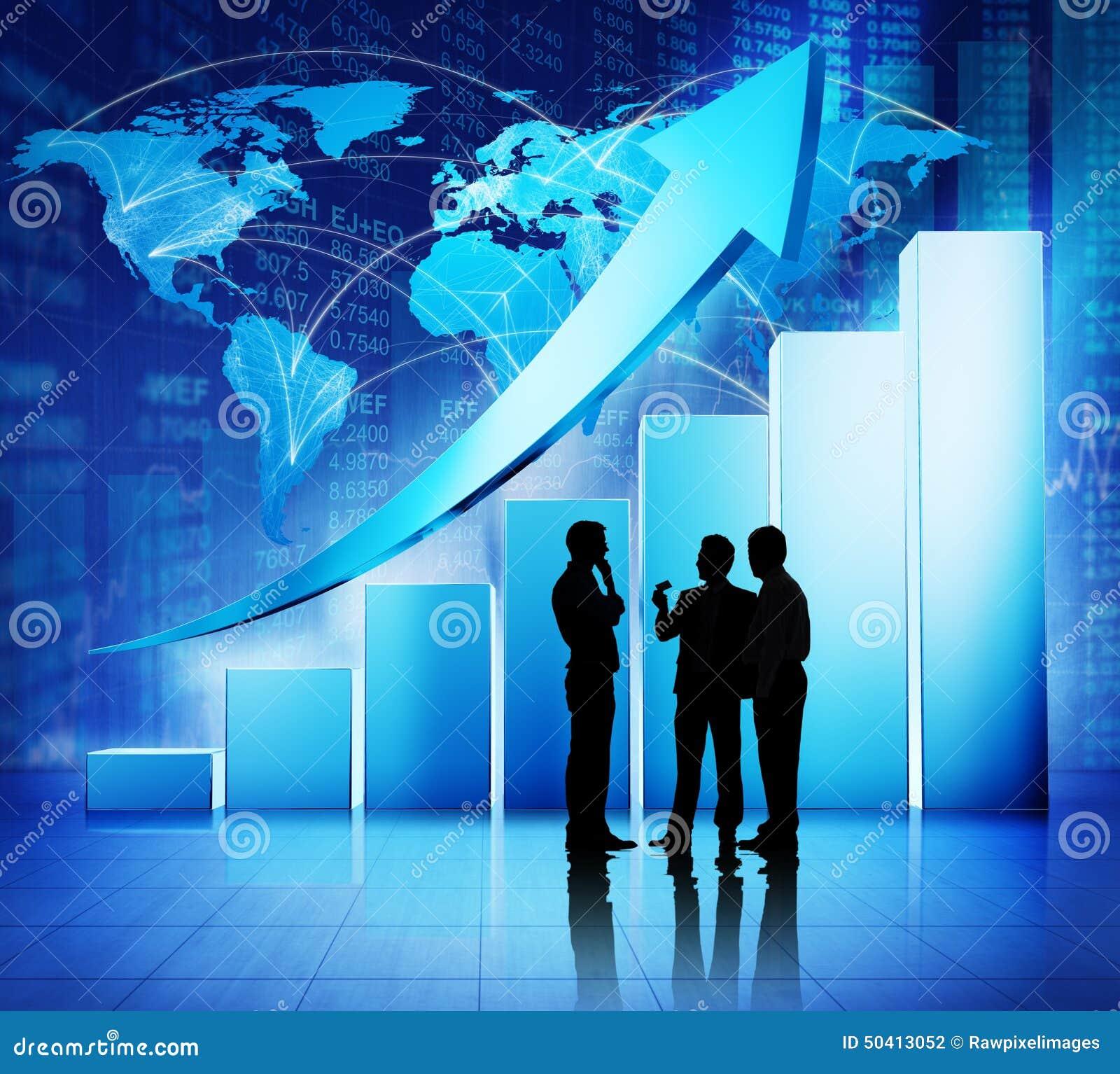 Concetto globale di crescita di dati finanziari di riunione d affari
