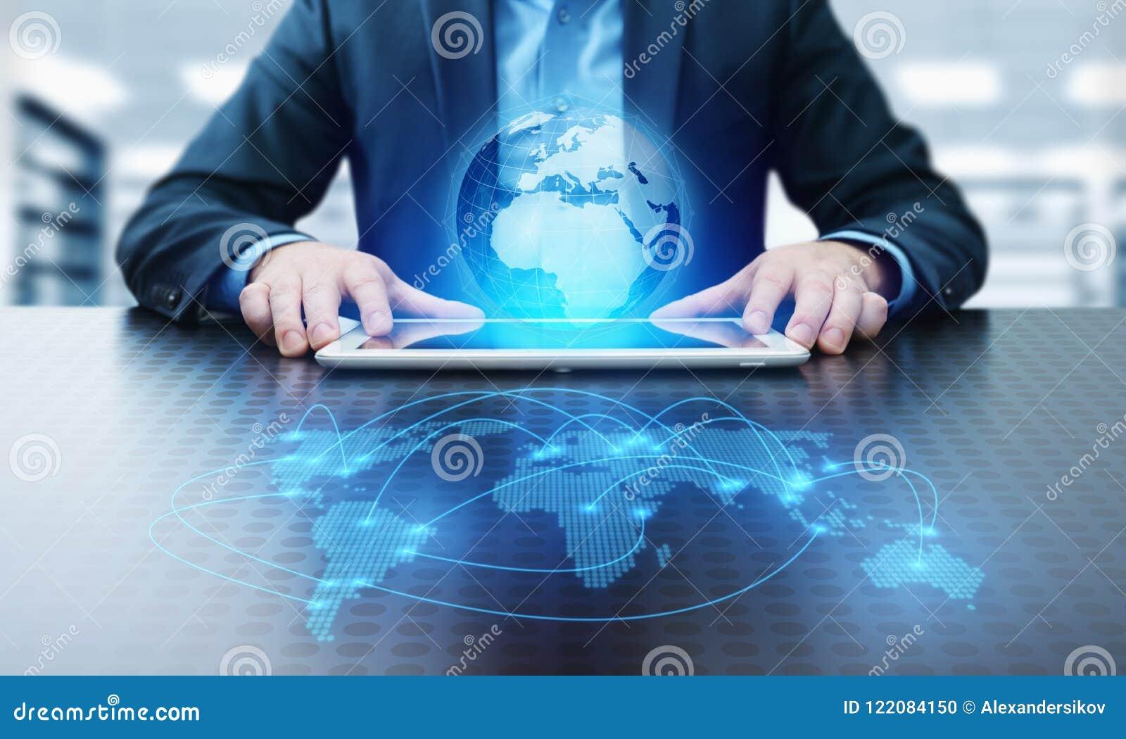 Concetto globale di Techology di Internet della rete di affari del collegamento di comunicazione del mondo