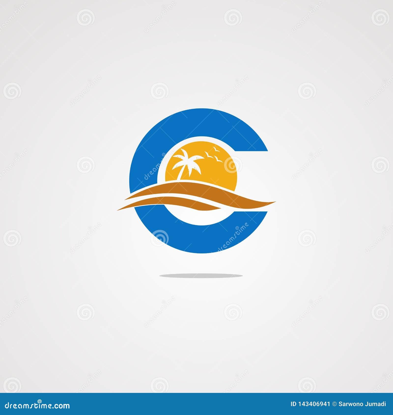 Concetto, icona, elemento e modello di vettore di logo della spiaggia della lettera c per la società