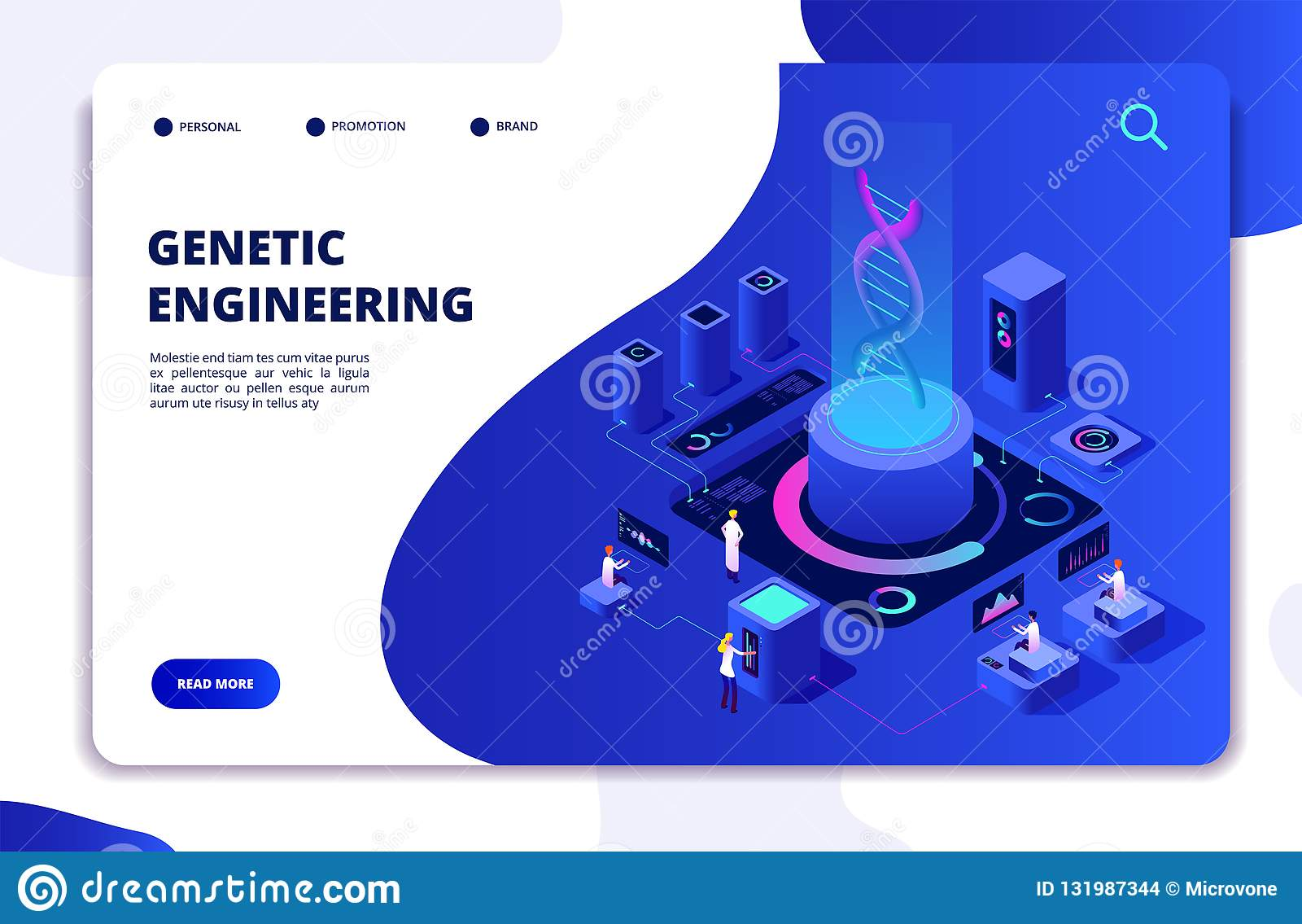 Concetto isometrico del DNA Laboratorio d organizzazione genetico con gli scienziati della gente Medici che ricercano le cellule