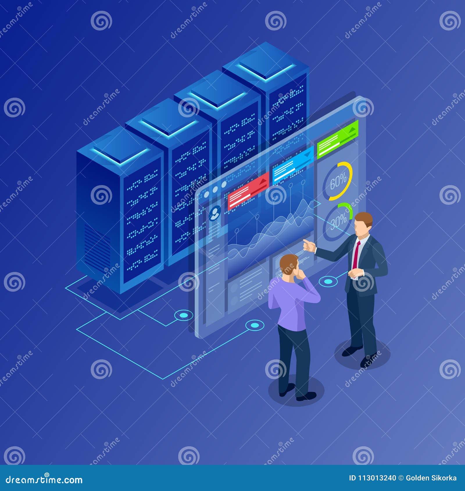 Concetto isometrico della gestione della rete di trasmissione di dati Businessmans nella stanza del centro dati Server ospite e b