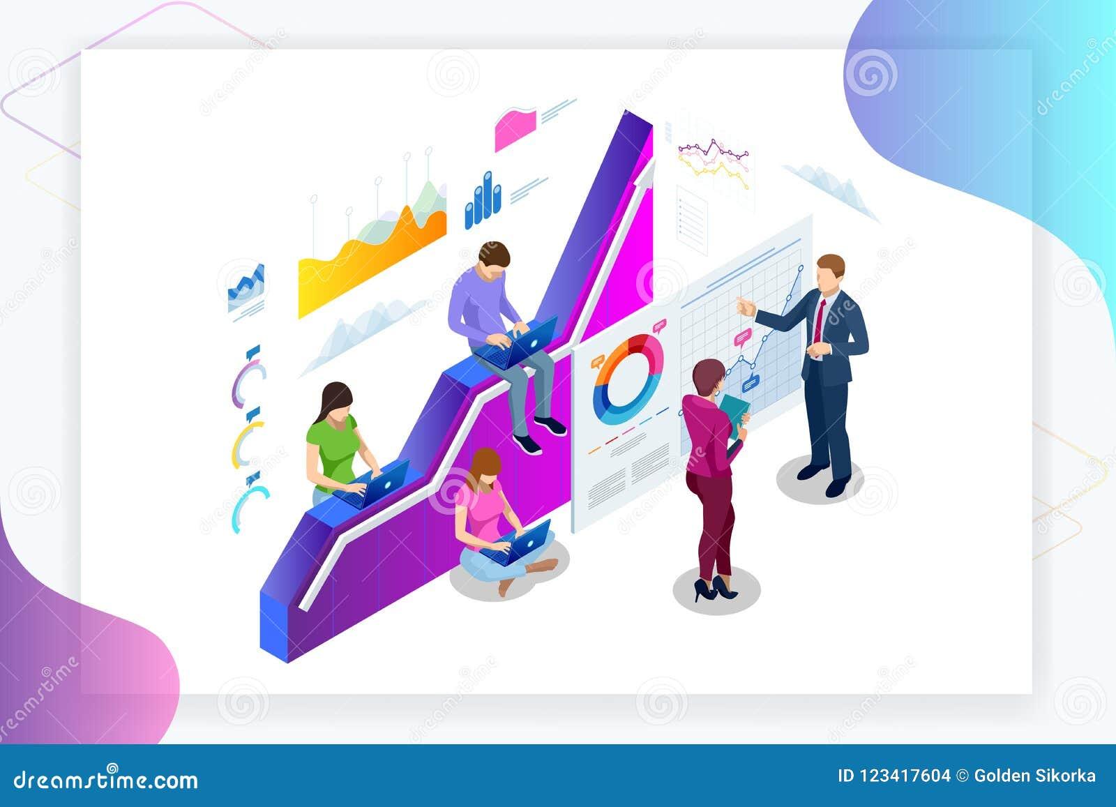 Concetto isometrico di dati Analisis e di statistiche dell insegna di web Analisi dei dati di affari dell illustrazione di vettor