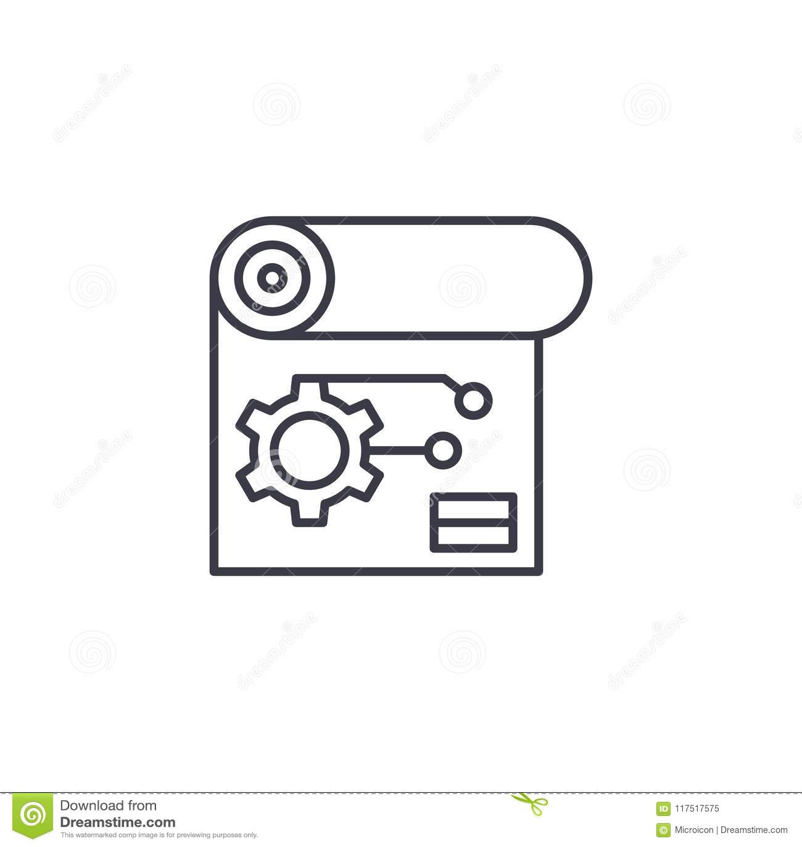Concetto lineare dell icona di schema di ingegneria Linea segno di vettore, simbolo, illustrazione di schema di ingegneria