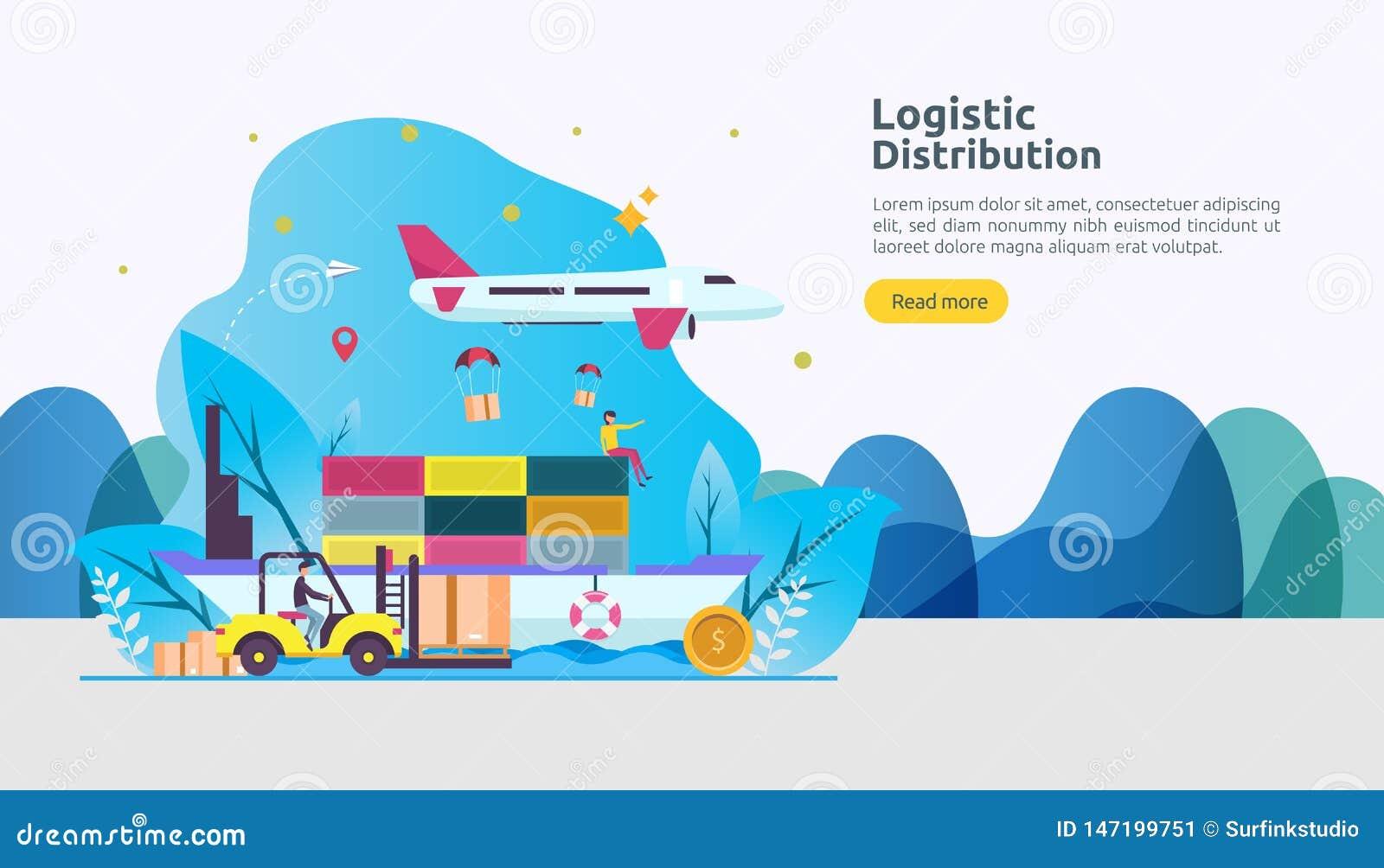 Concetto logistico globale dell illustrazione di servizio di distribuzione insegna mondiale di trasporto di importazioni-esportaz