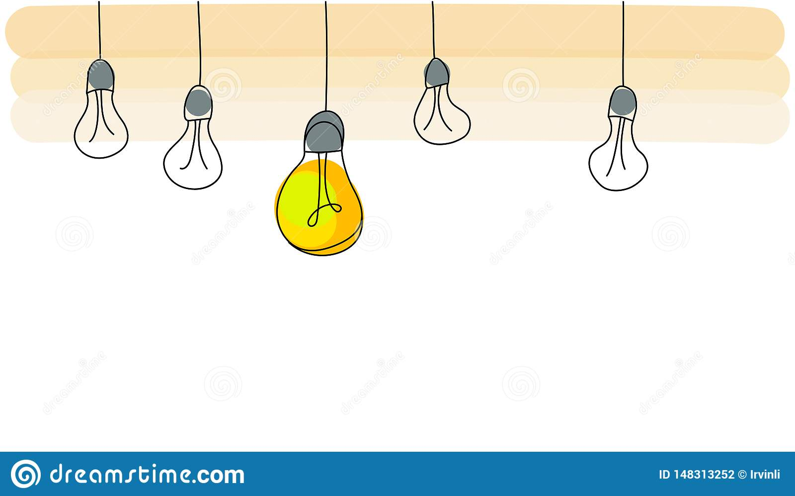 Concetto luminoso di idea con la lampadina Illustrazione piana di vettore di stile