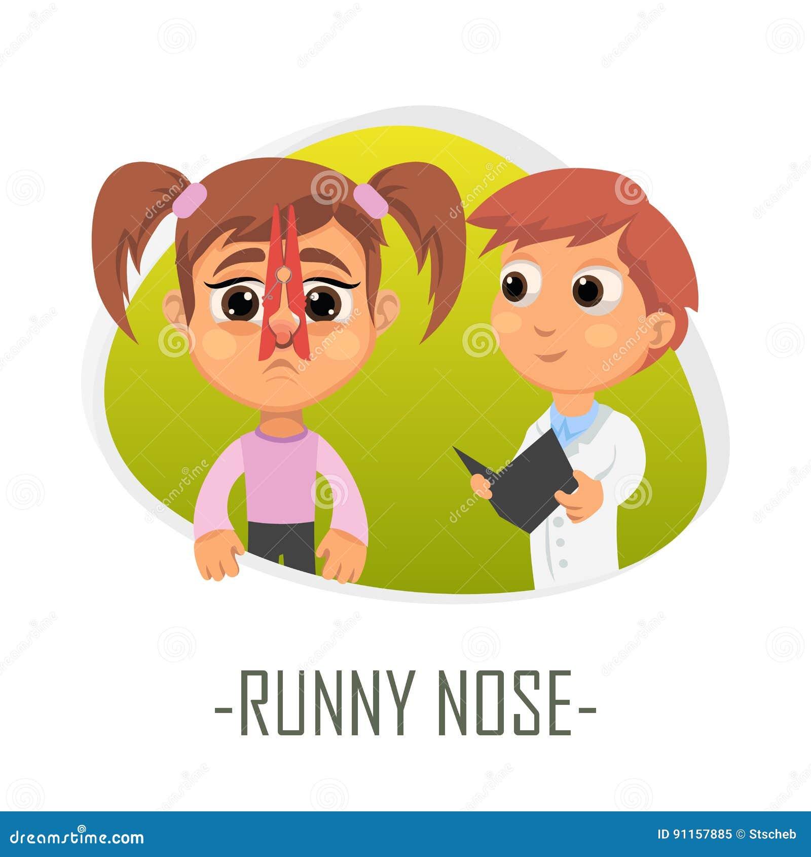 Concetto medico del naso semiliquido Illustrazione di vettore