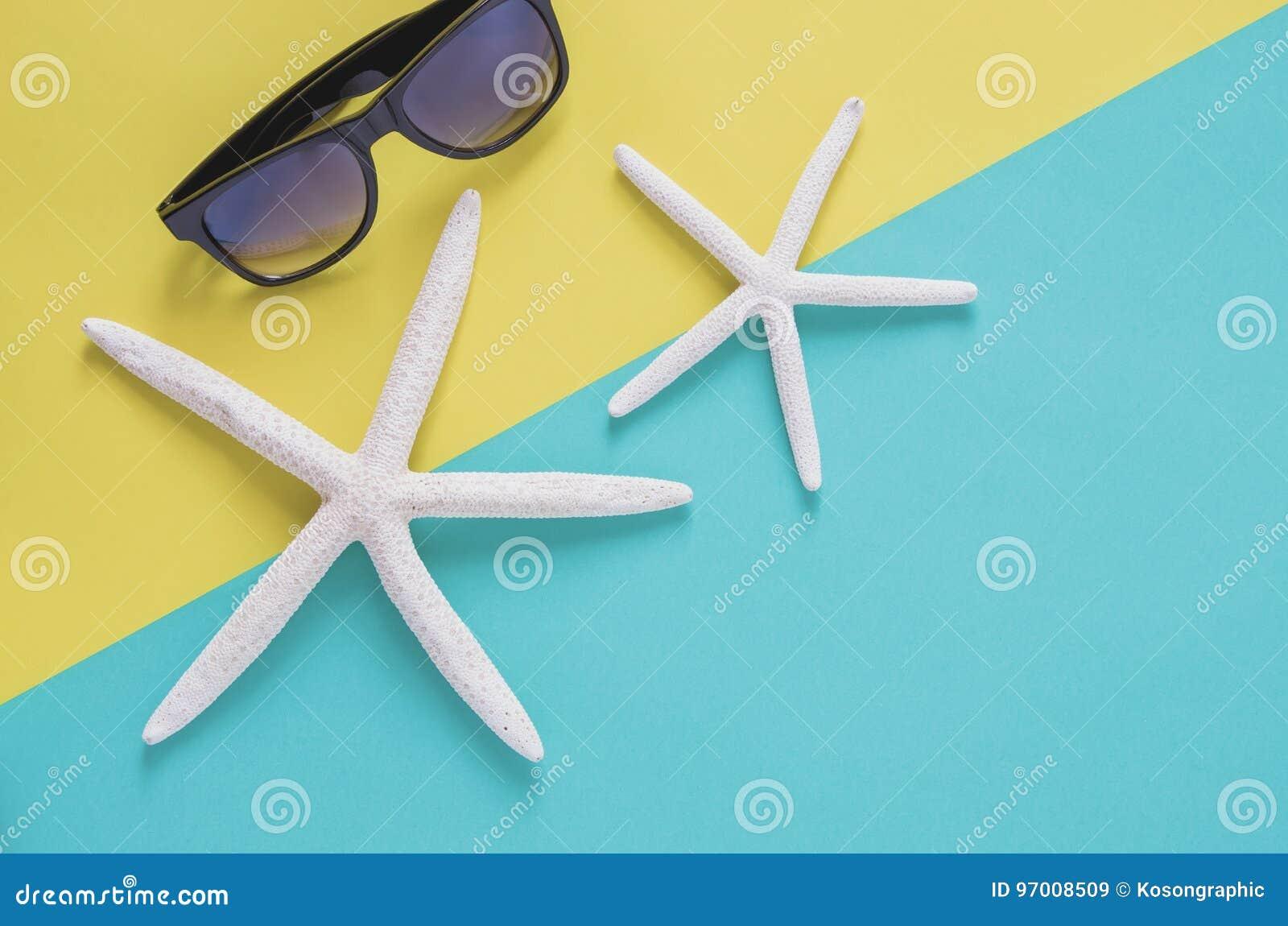 Concetto minimo del fondo di vacanza estiva Occhiali da sole, starfishe