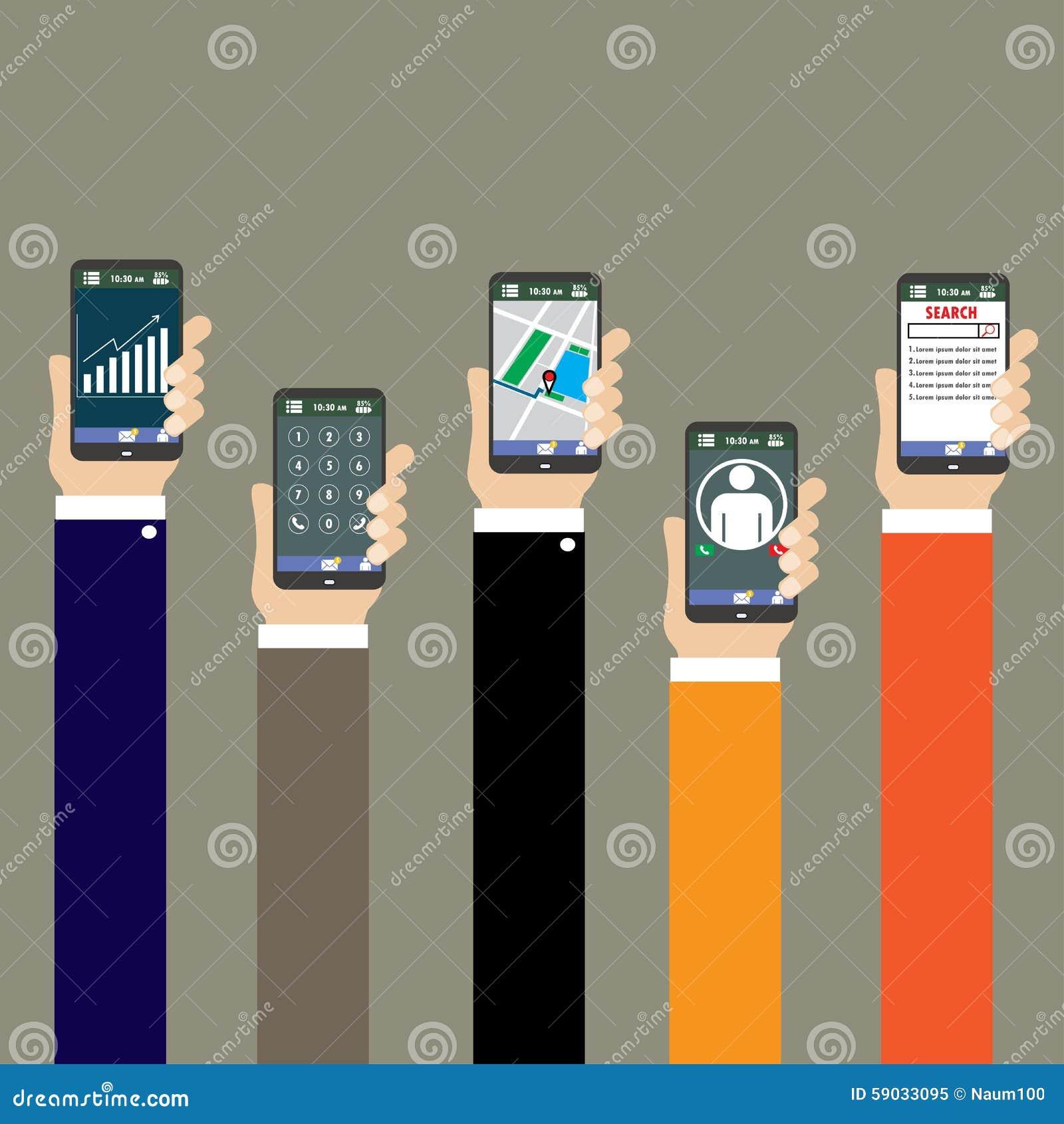 concetto mobile di applicazioni mano con i telefoni piani